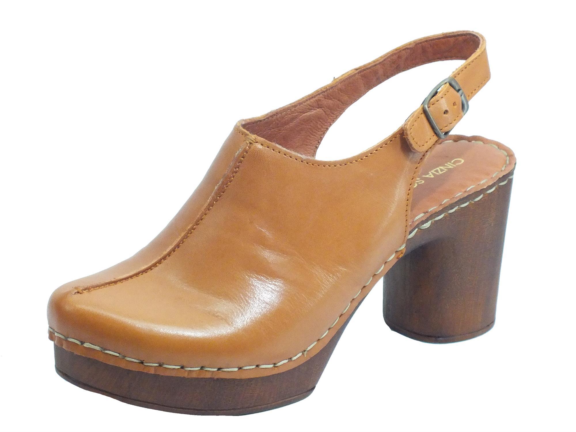 Cinzia Soft PQ9183622 Honey Sandali per Donna in pelle tacco effetto legno alto e plateau