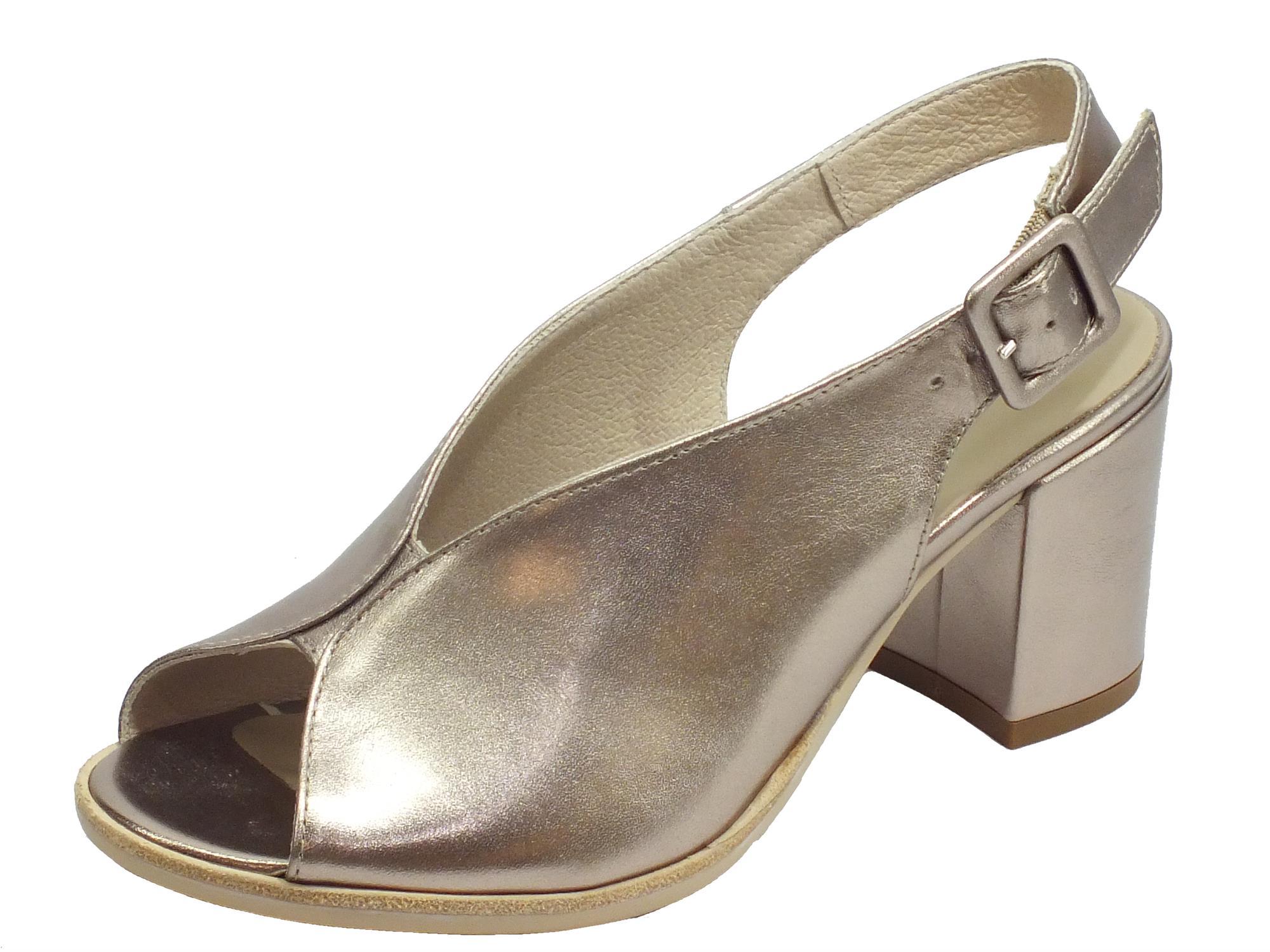NeroGiardini E012271D Oxigen Bronzo Sandali Donna tacco alto pelle fibia caviglia