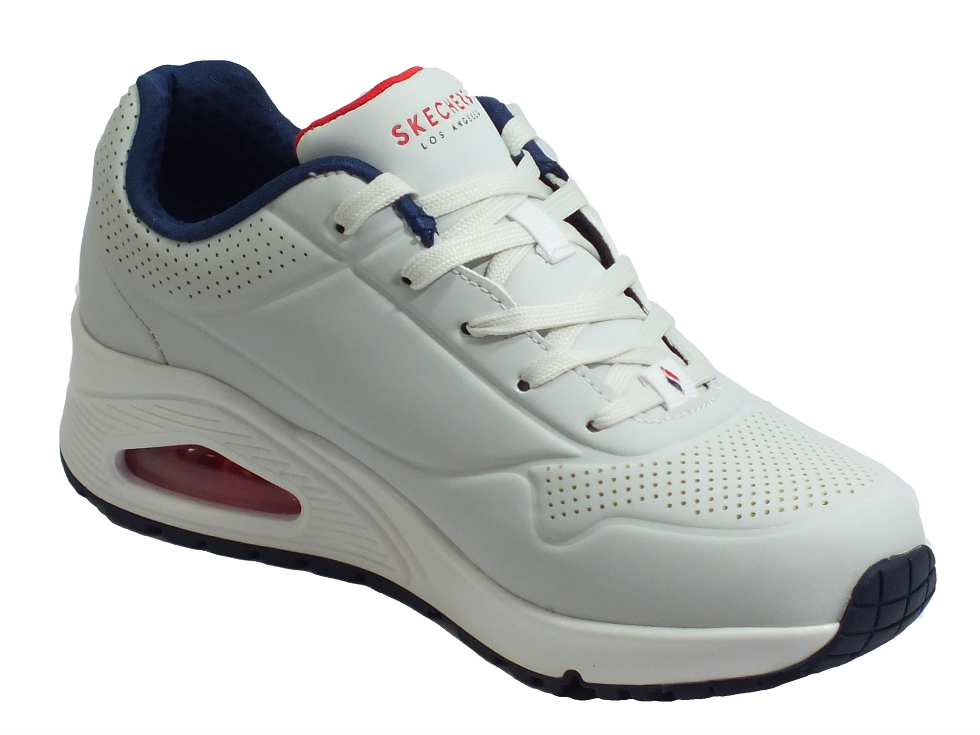 Skechers Street Los Angeles 73690WNVR Uno Stand On Air White Navy Red Scarpe Sportive Donna