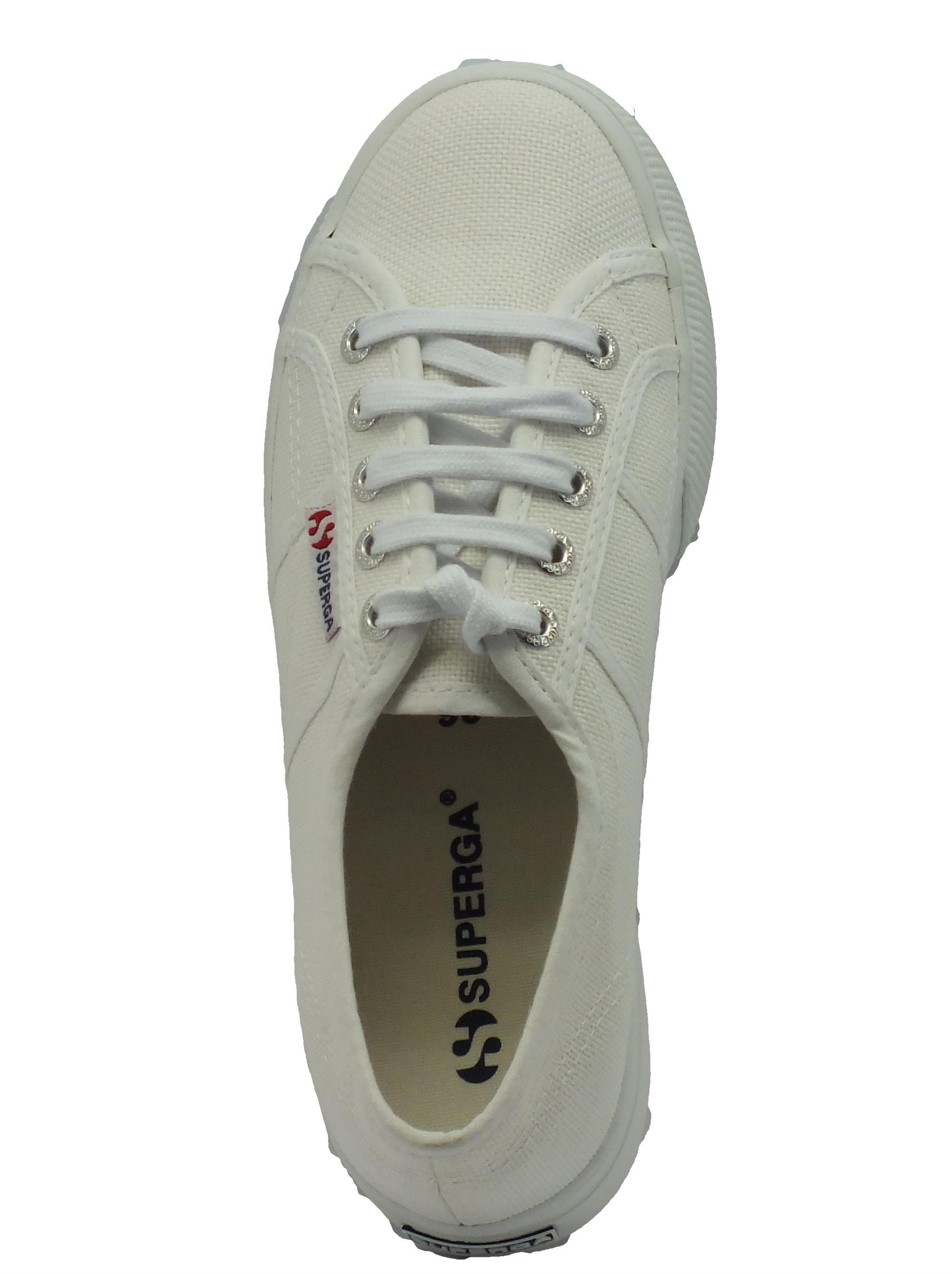 Scarpe Superga donna tessuto bianco zeppa alta - Vitiello Calzature 52474963aa6