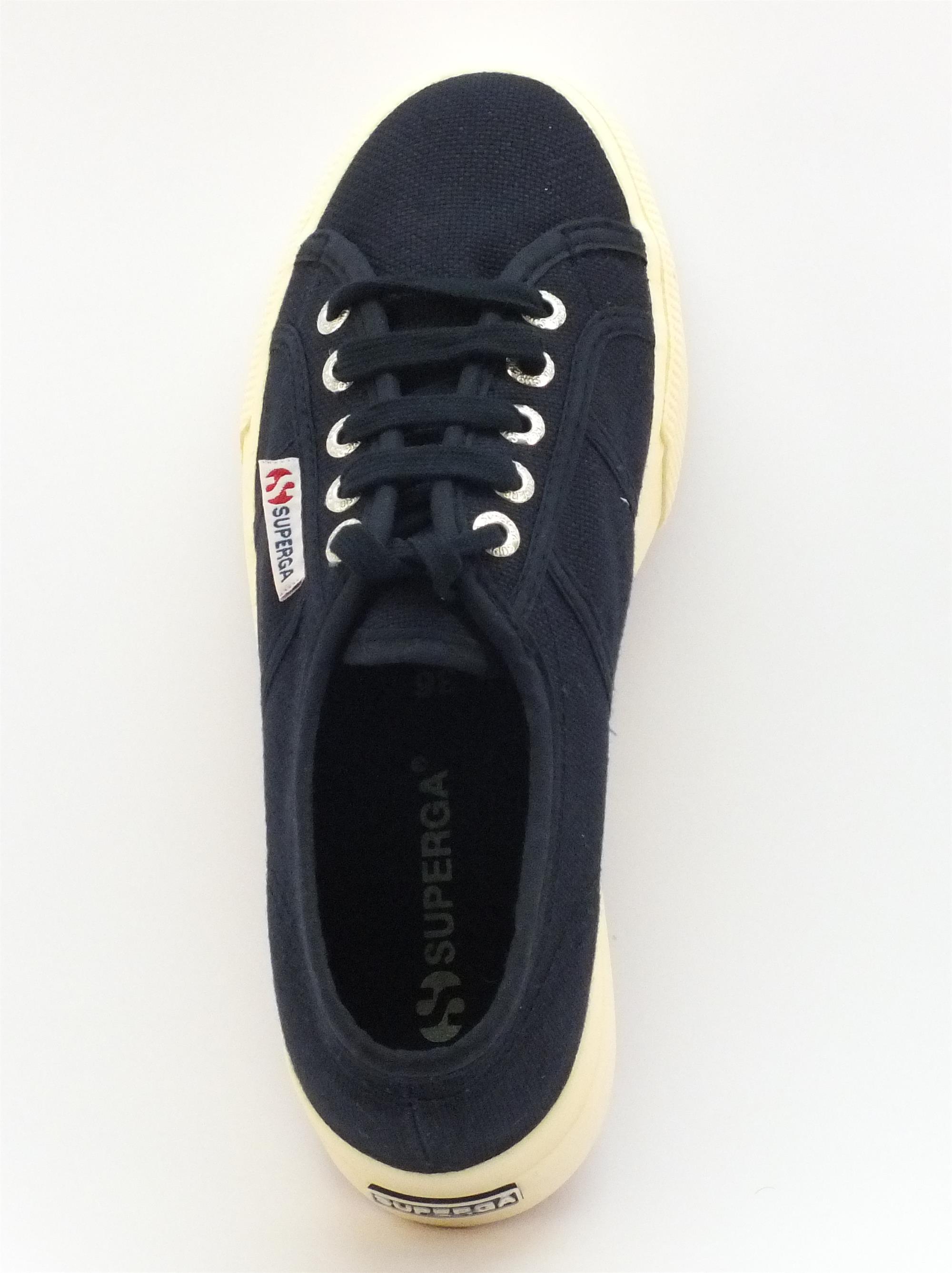 Scarpe Superga donna tessuto blu zeppa alta - Vitiello Calzature fcb1c182e21