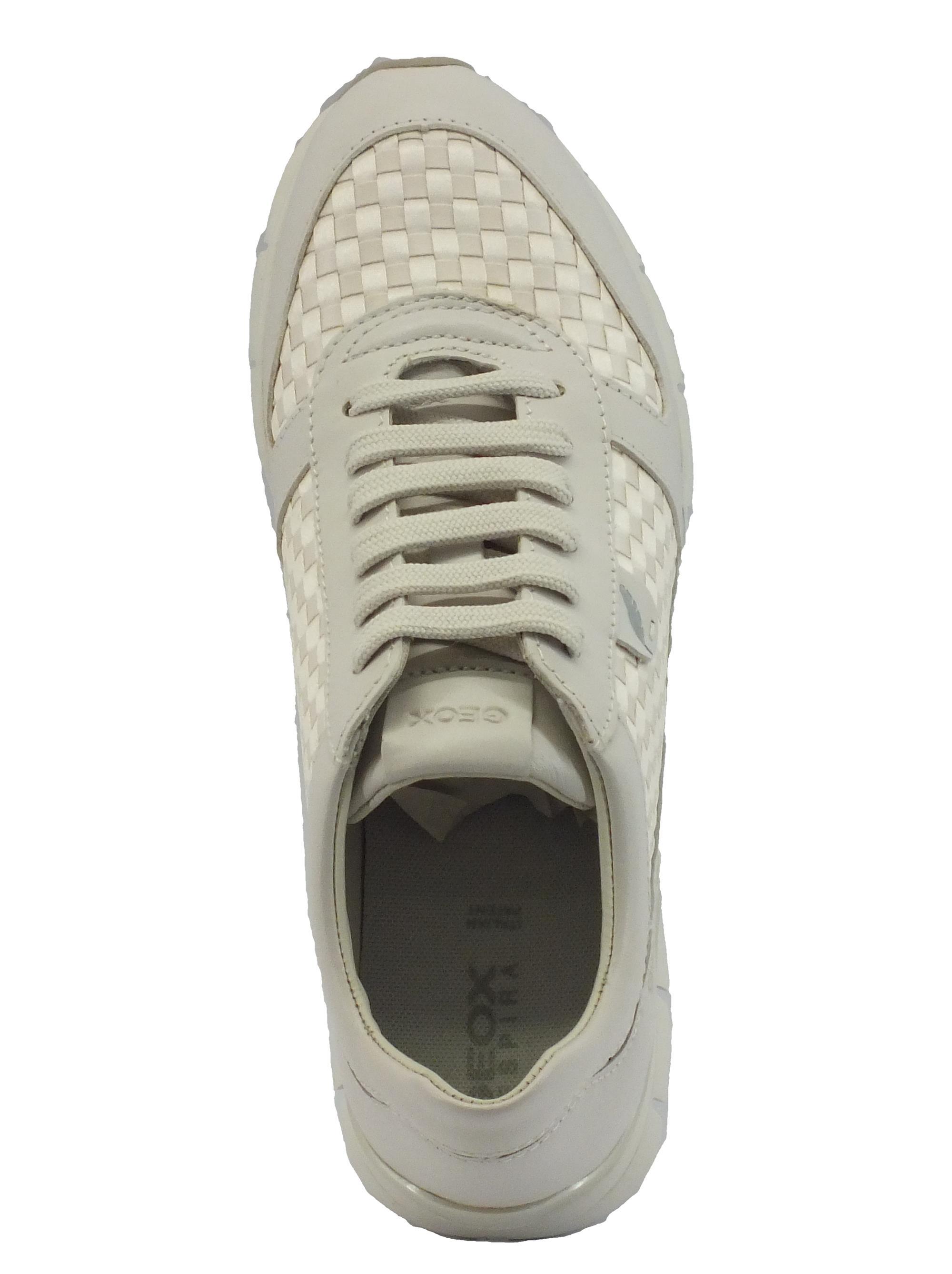 ... Sneakers per donna Geox in pelle bianca e tessuto intrecciato bianco 3028f42eea6