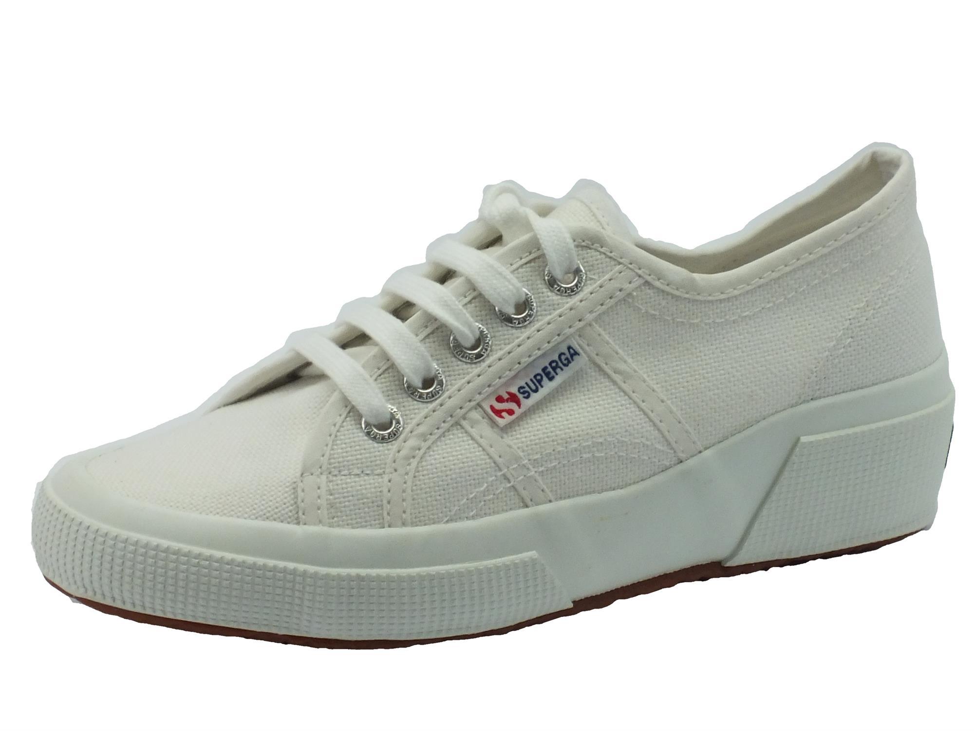 Scarpe Superga per donna in tessuto bianco con plantare estraibile