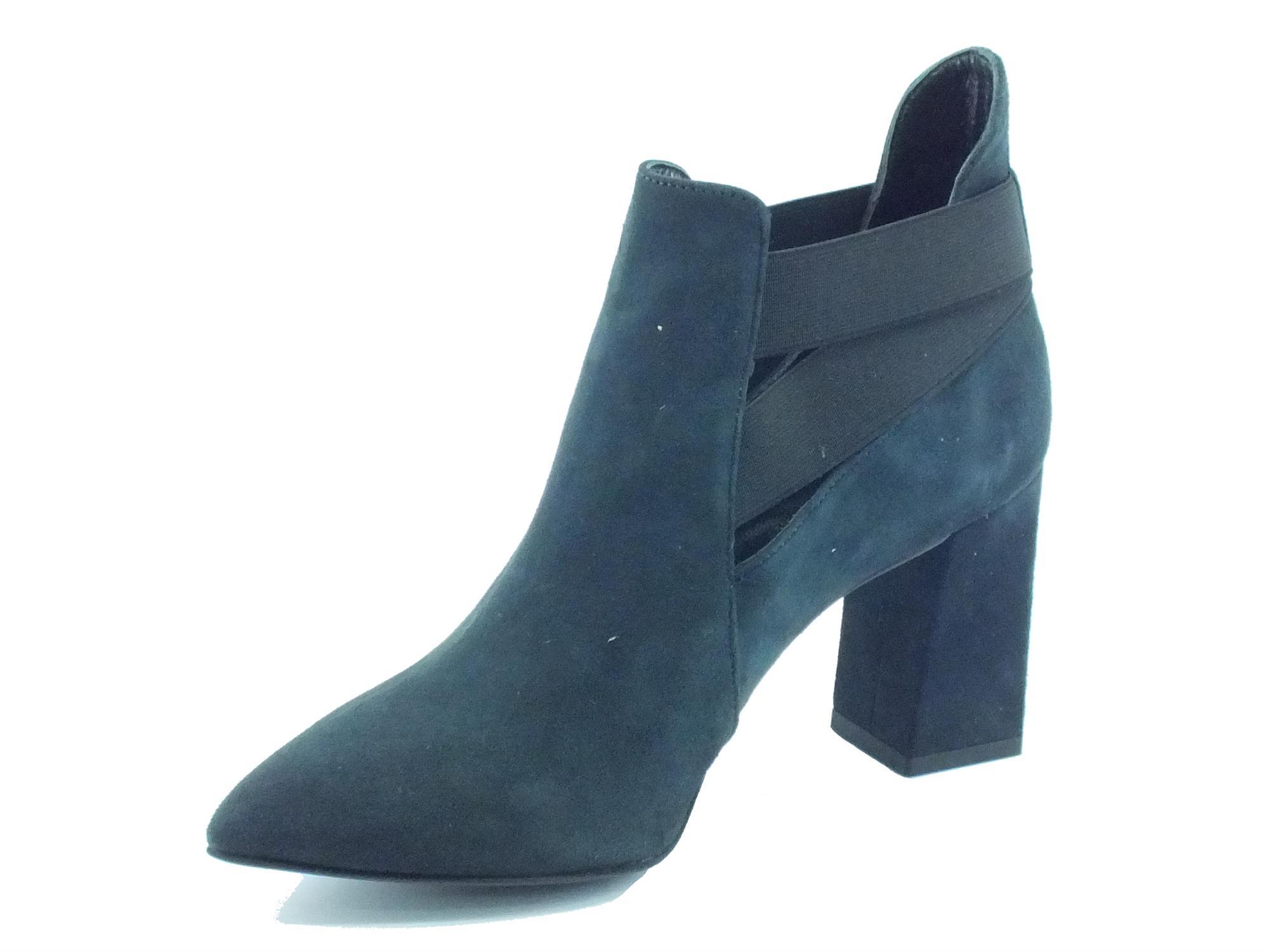 ... Tronchetti a punta CafèNoir per donna in camoscio blu ...