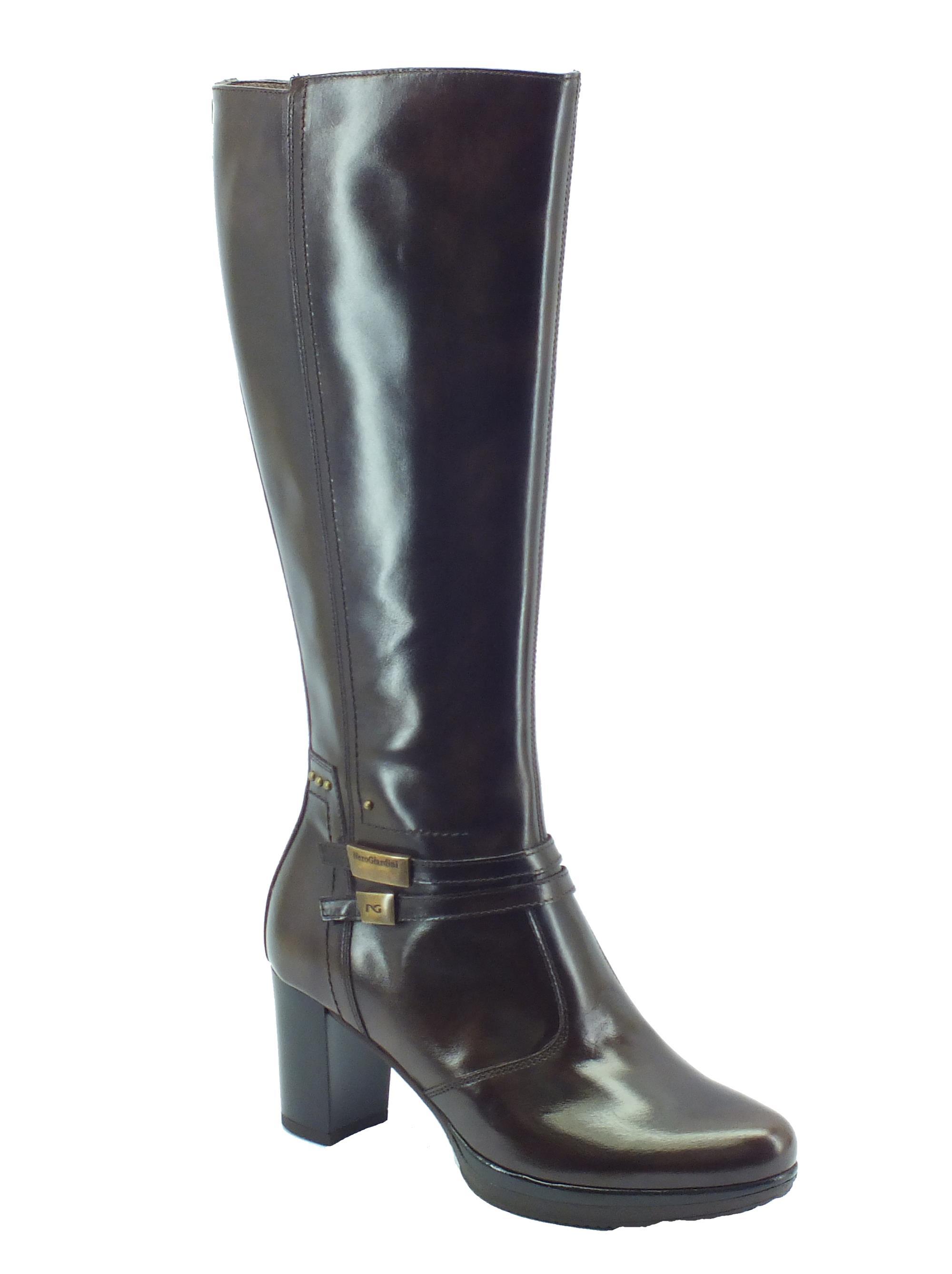 824741654fd61c Stivali NeroGiardini in pelle testa di moro con tacco medio ...