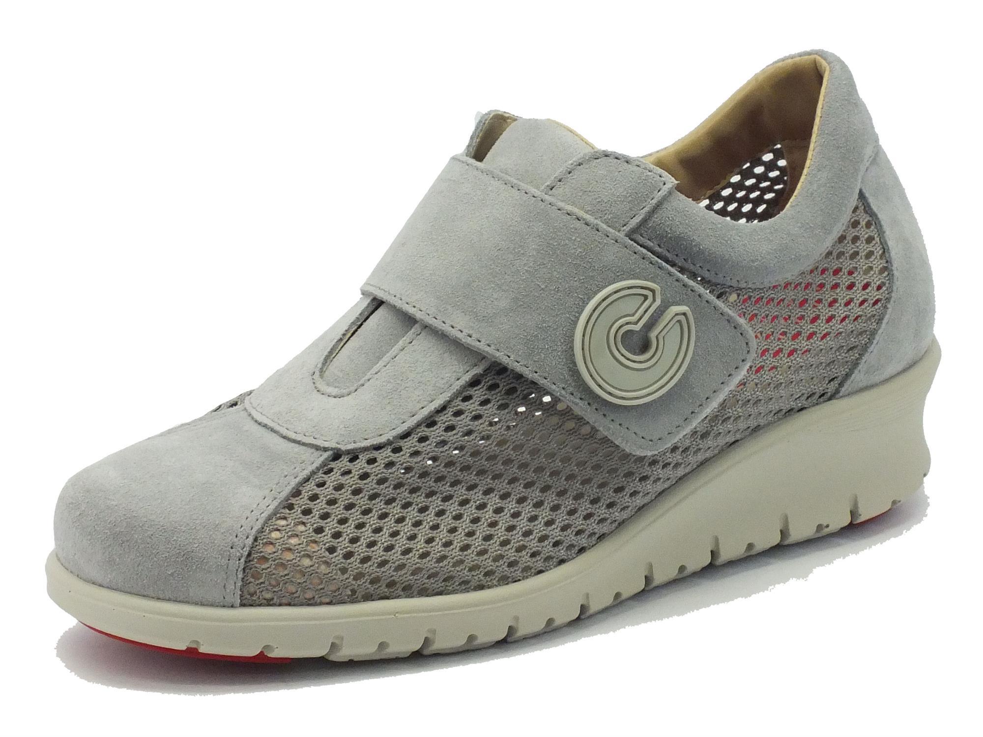 f18296db7f126 Sneakers Cinzia Soft donna nabuk grigio traforato strappo - Vitiello ...