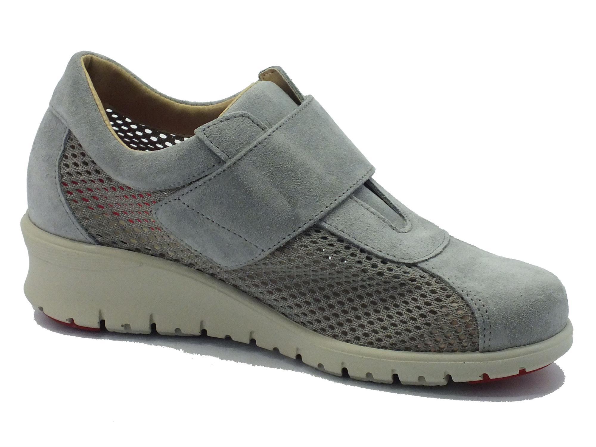 d98c5082e56a4 ... Sneakers Cinzia Soft per donna in nabuk grigio traforato con strappo ...