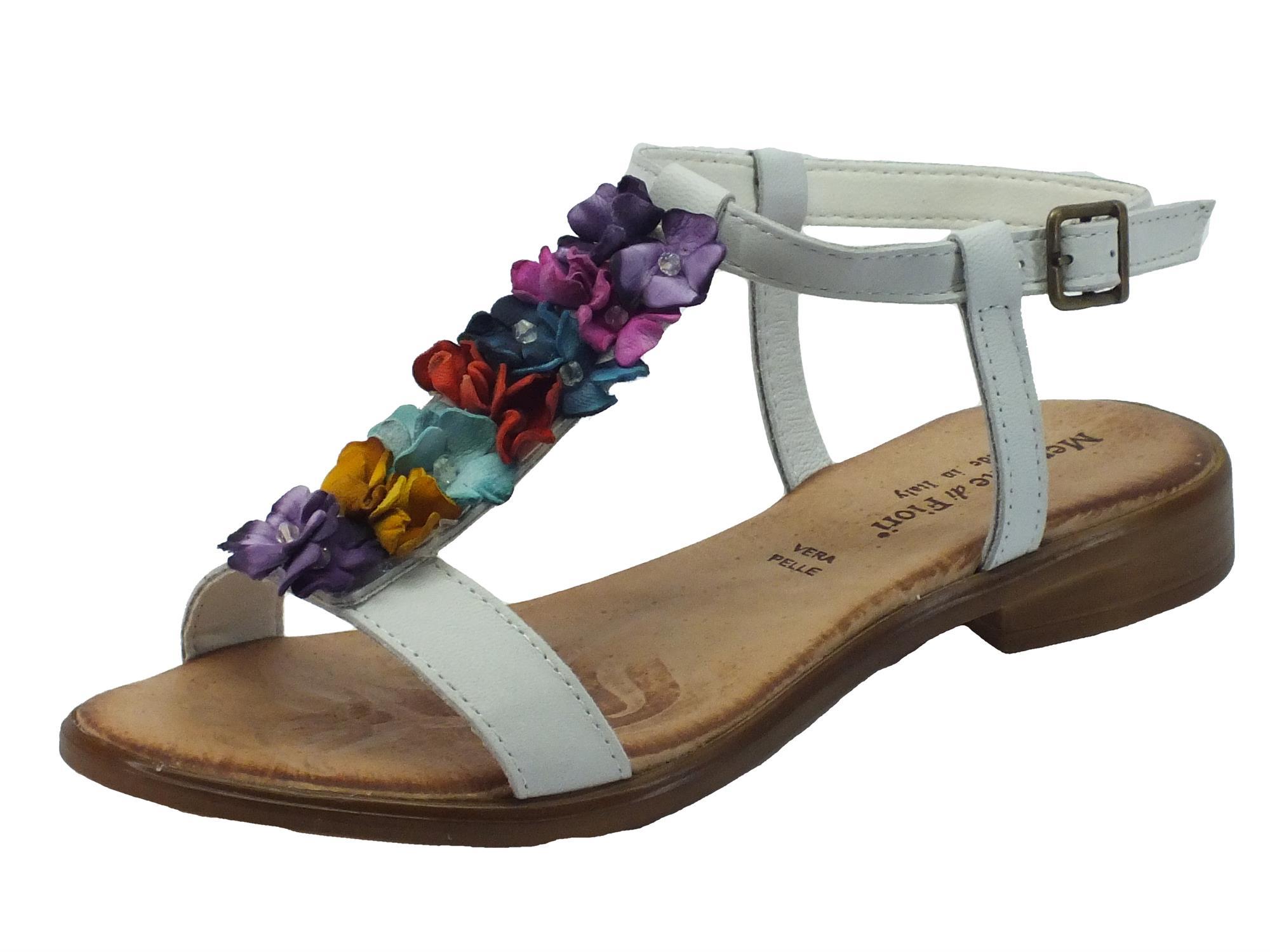 Sandali Mercante di Fiori donna pelle bianca tacco basso - Vitiello ... ff1829fbc88