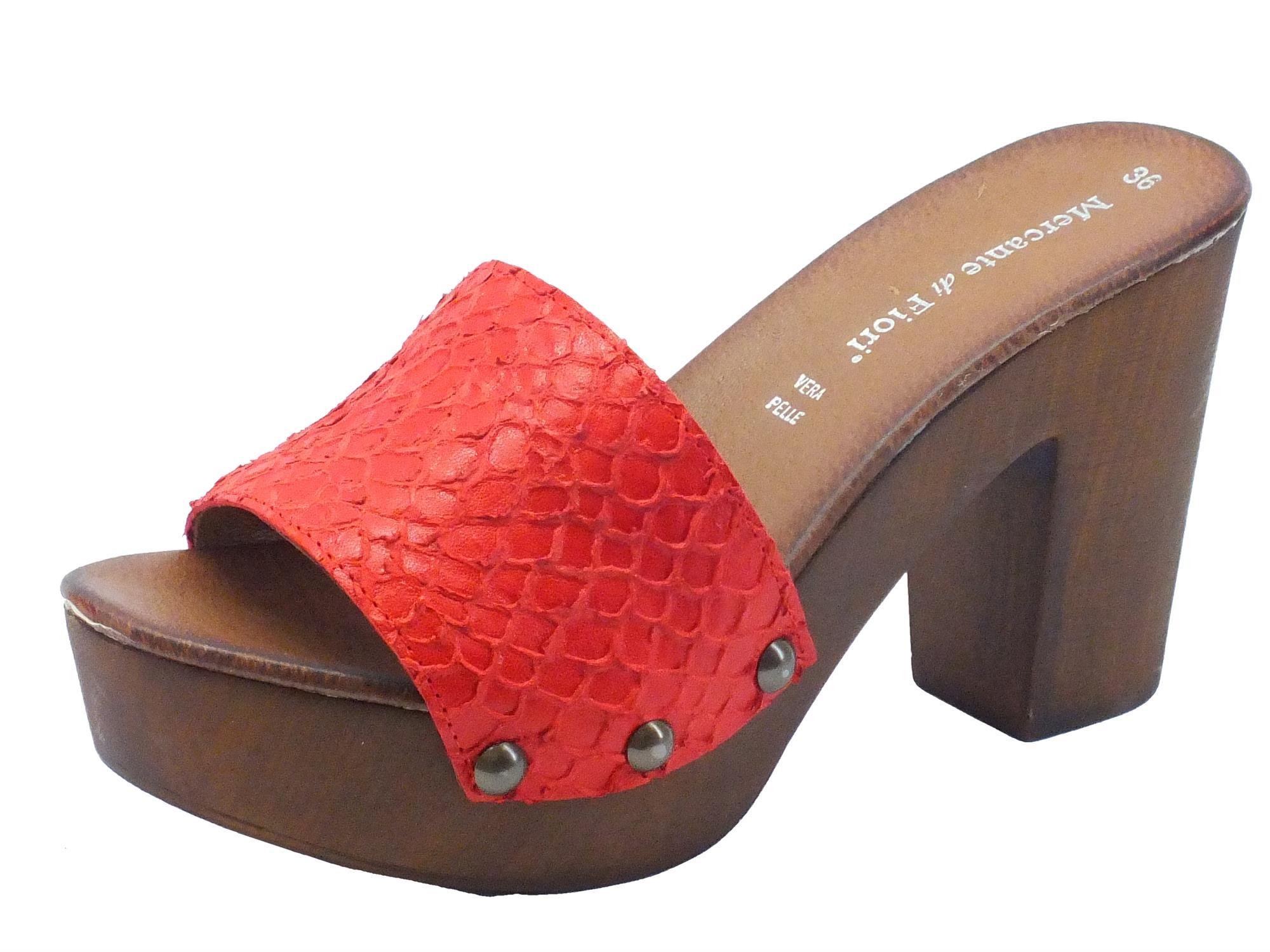 Zoccolo donna Mercante di Fiori pelle rossa tacco alto - Vitiello ... c0b0ec45c64