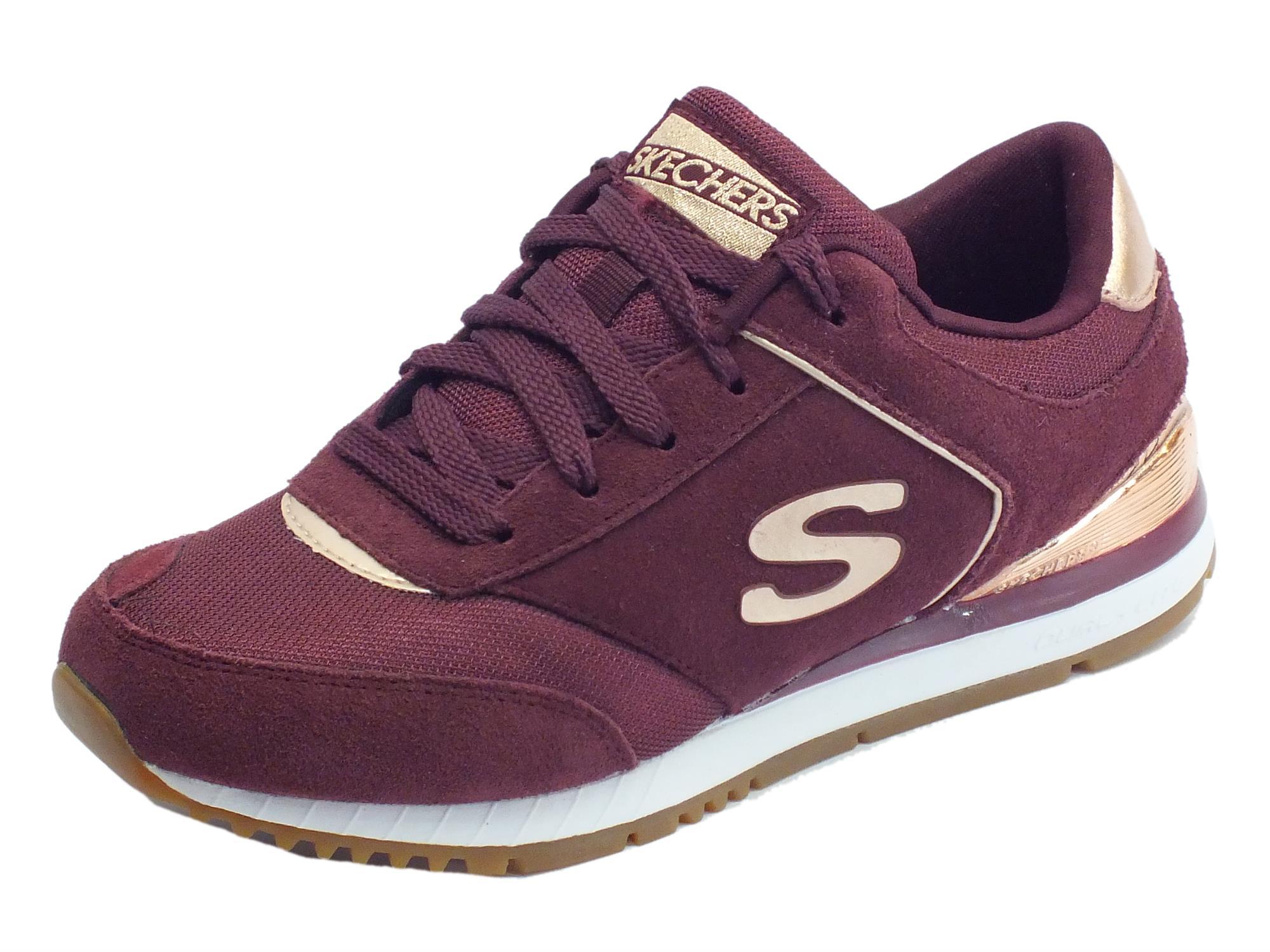 Scarpe sportive per donna Skechers Originals in tessuto e camoscio colore bordeaux