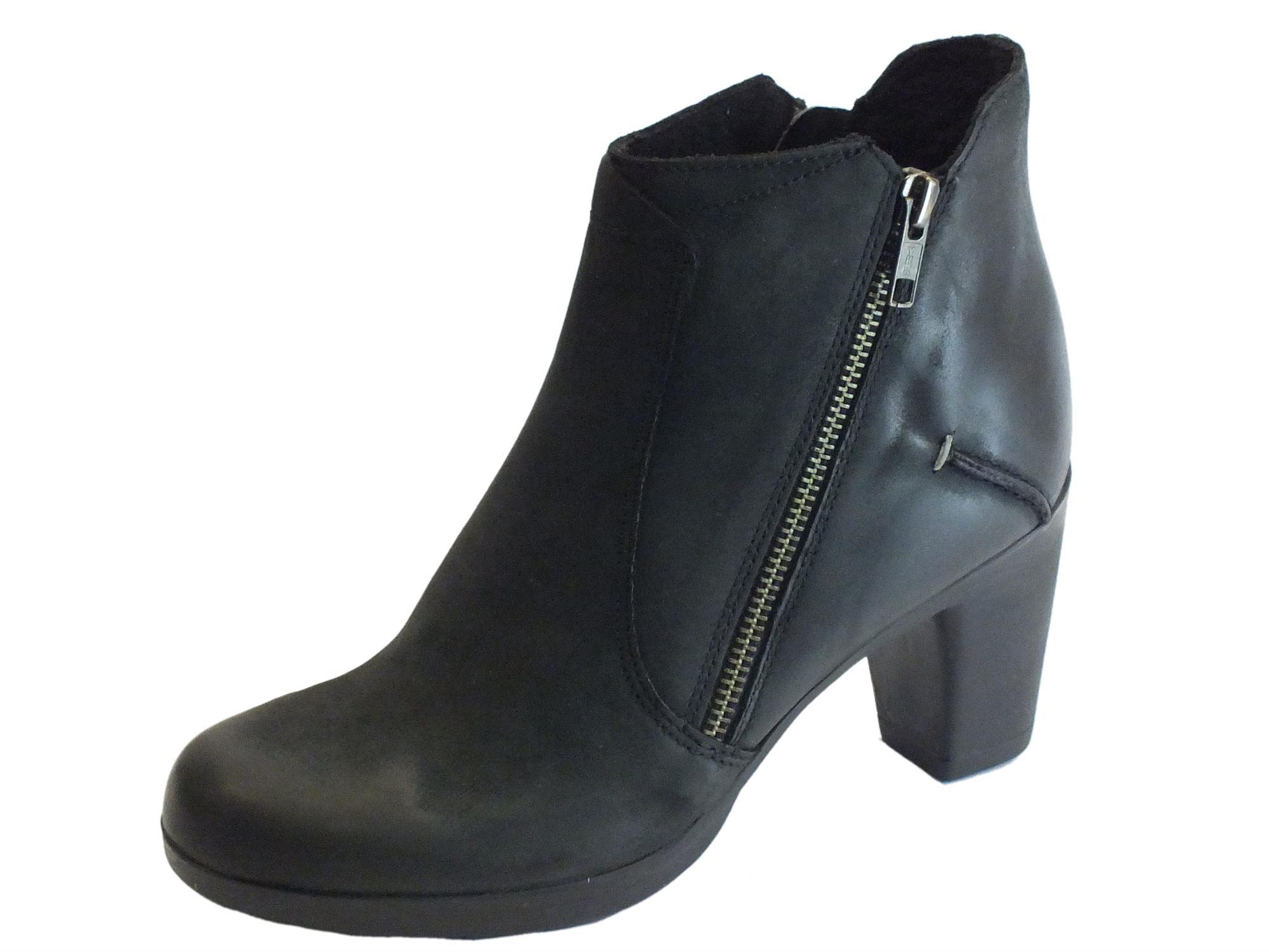 Tronchetti Cinzia Soft pelle spazzolata nera tacco medio - Vitiello ... 3c824547279
