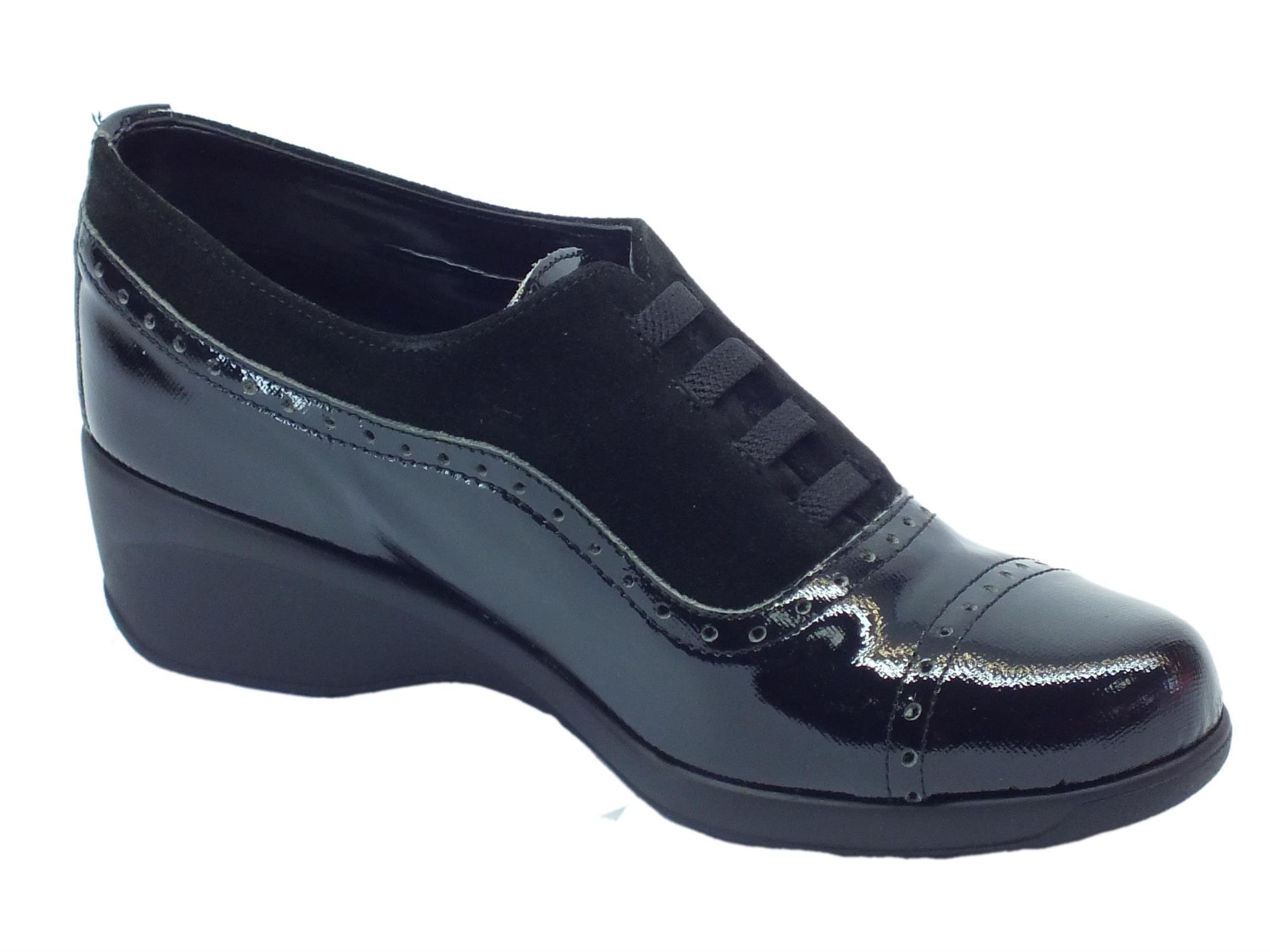 ... Mocassini Cinzia Soft per donna in camoscio nero e pelle nera saffiano  ... 581f2162ddc