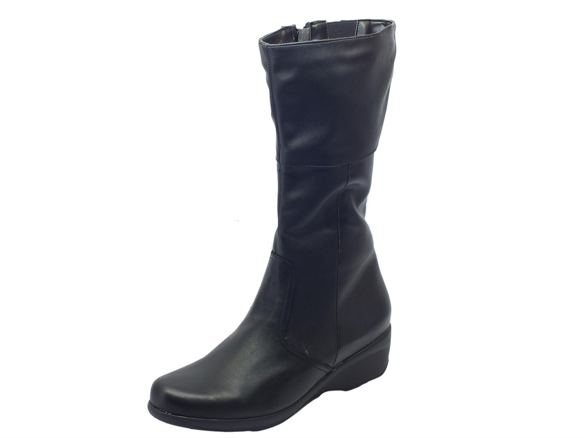 Stivali donna Cinzia Soft pelle elasticizzata nera zeppa - Vitiello ... 8777c392800