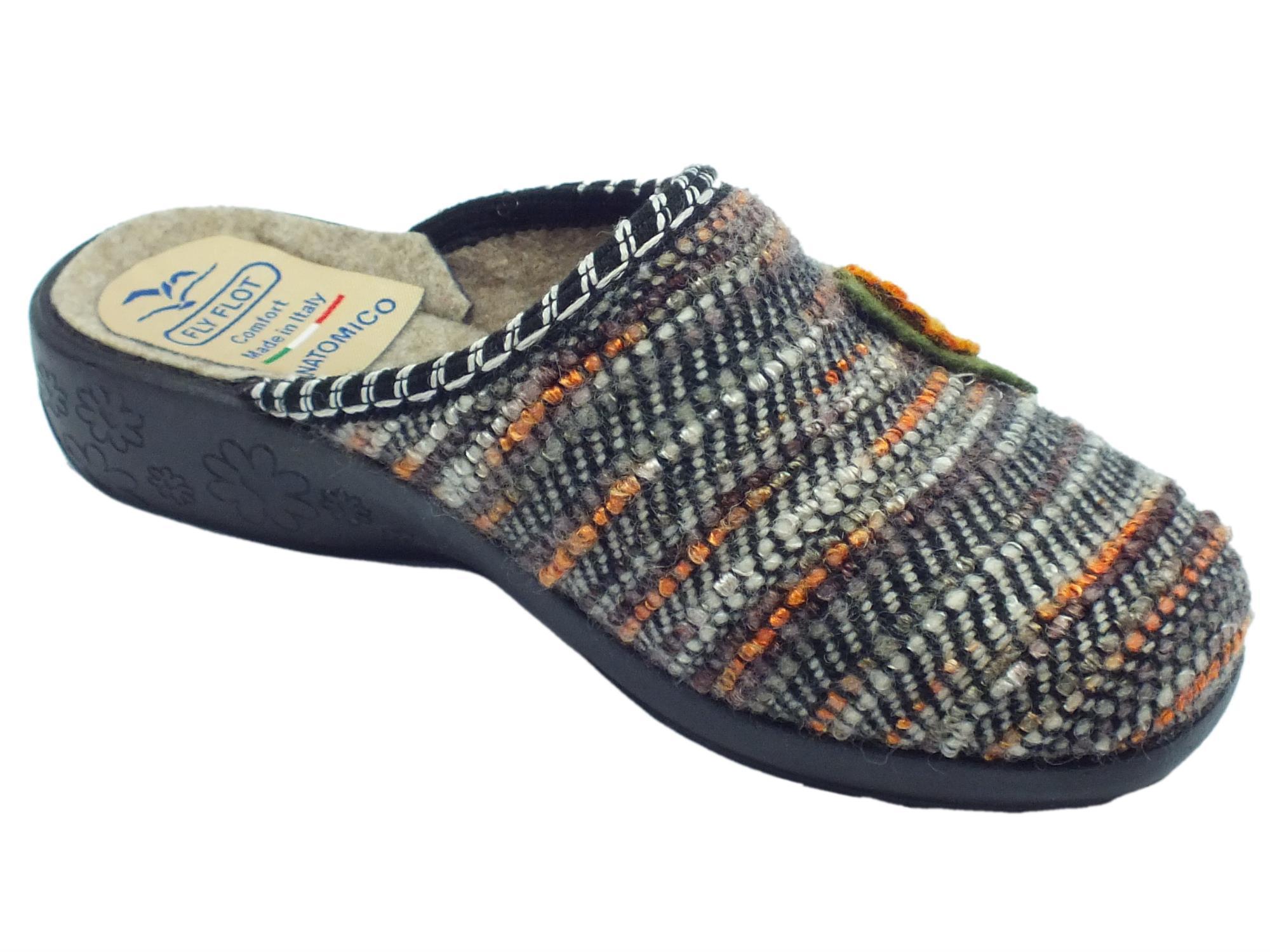 ... Pantofole Fly Flot per donna in tessuto cucito multicolore marrone con  fiore ... c5c97352c7d