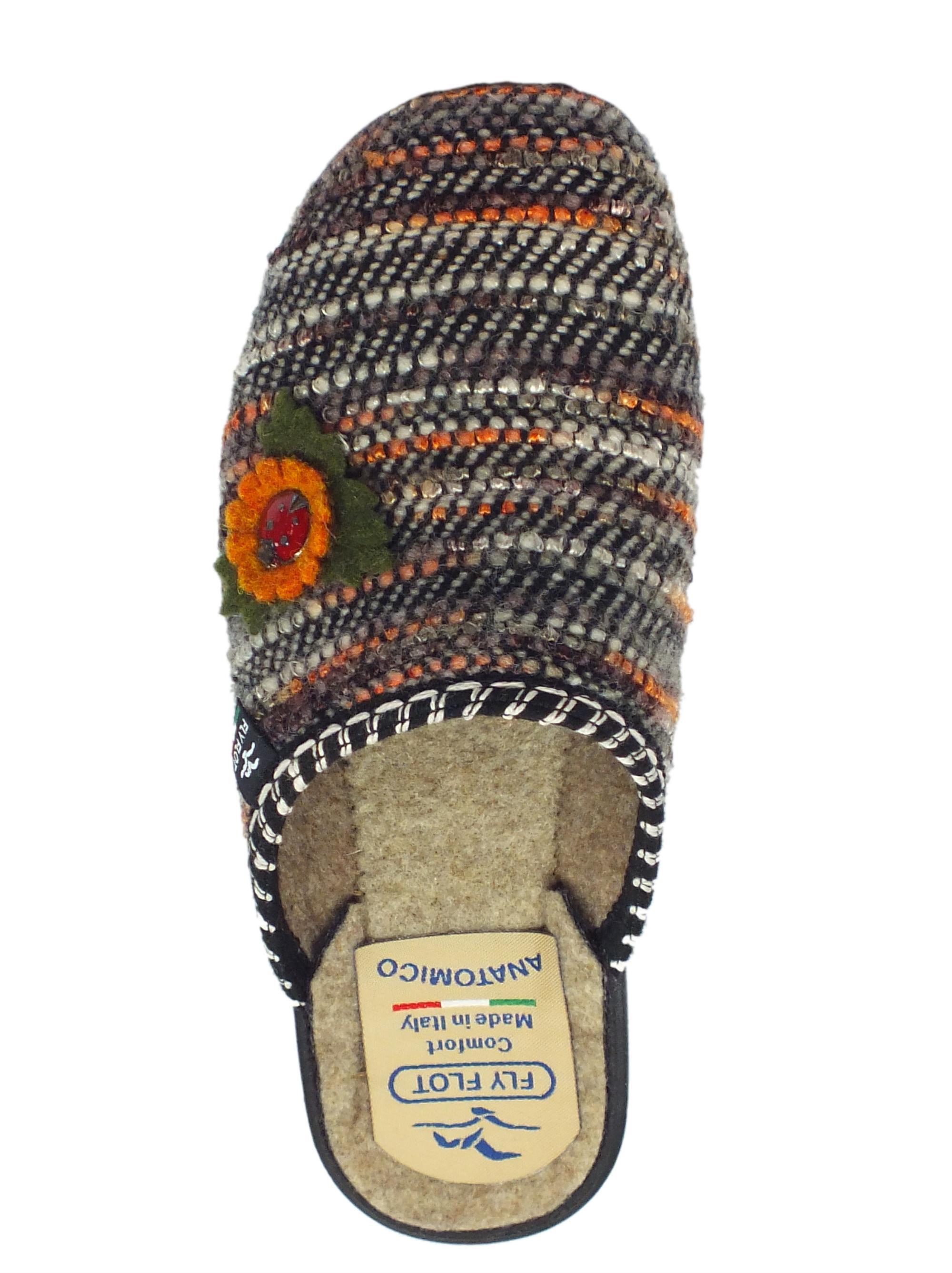 ... Pantofole Fly Flot per donna in tessuto cucito multicolore marrone con  fiore 5fbc66a2a7a