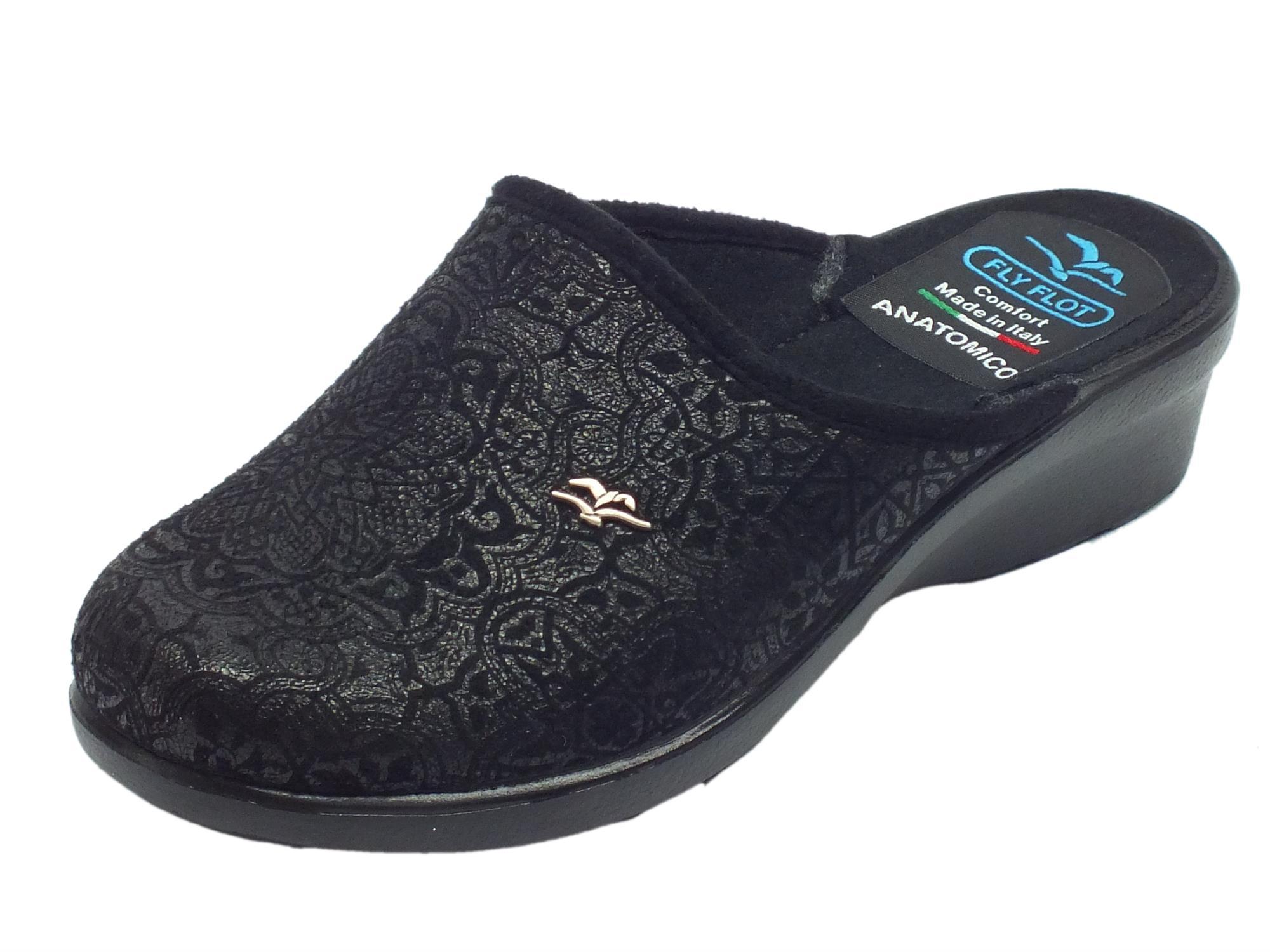Pantofole Fly Flot per donna in tessuto nero con decorazione satinata d03ccc77d63