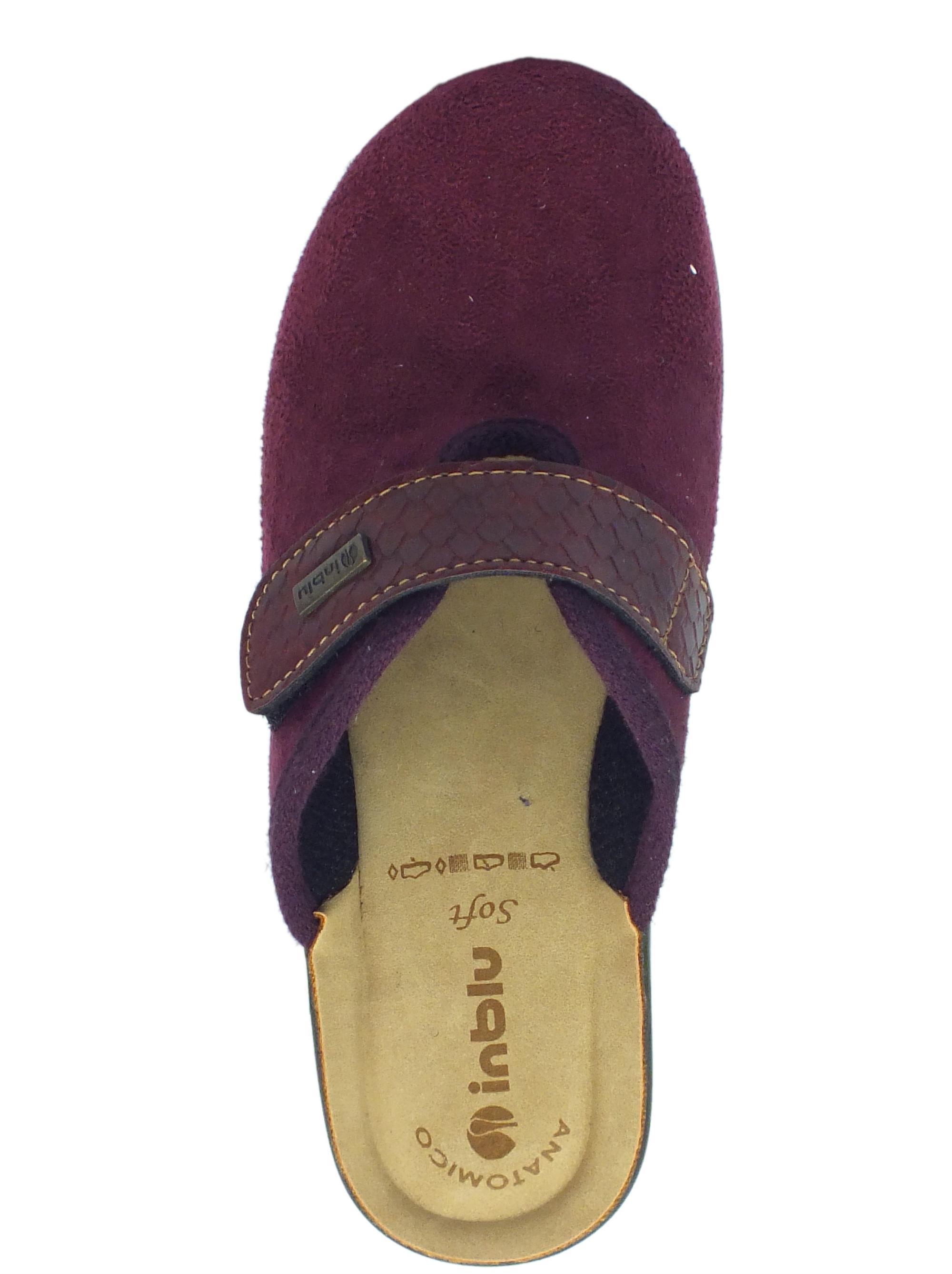 Pantofole InBlu donna tessuto prugna chiusura a strappo - Vitiello ... 1187efd5a30