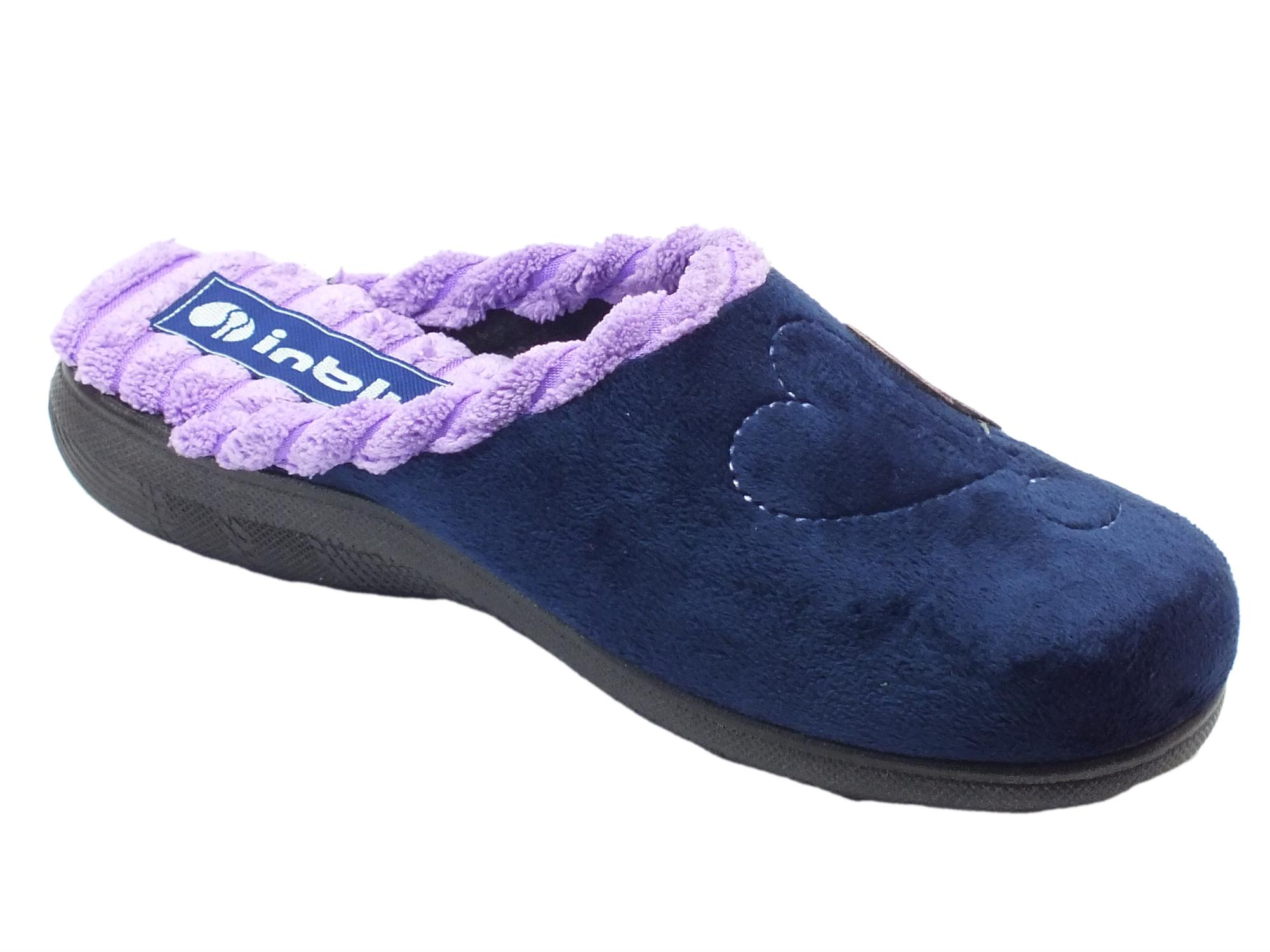 ... Pantofole per donna InBlu in tessuto blu con coccinella e cuoricini ... 1a40678d01e