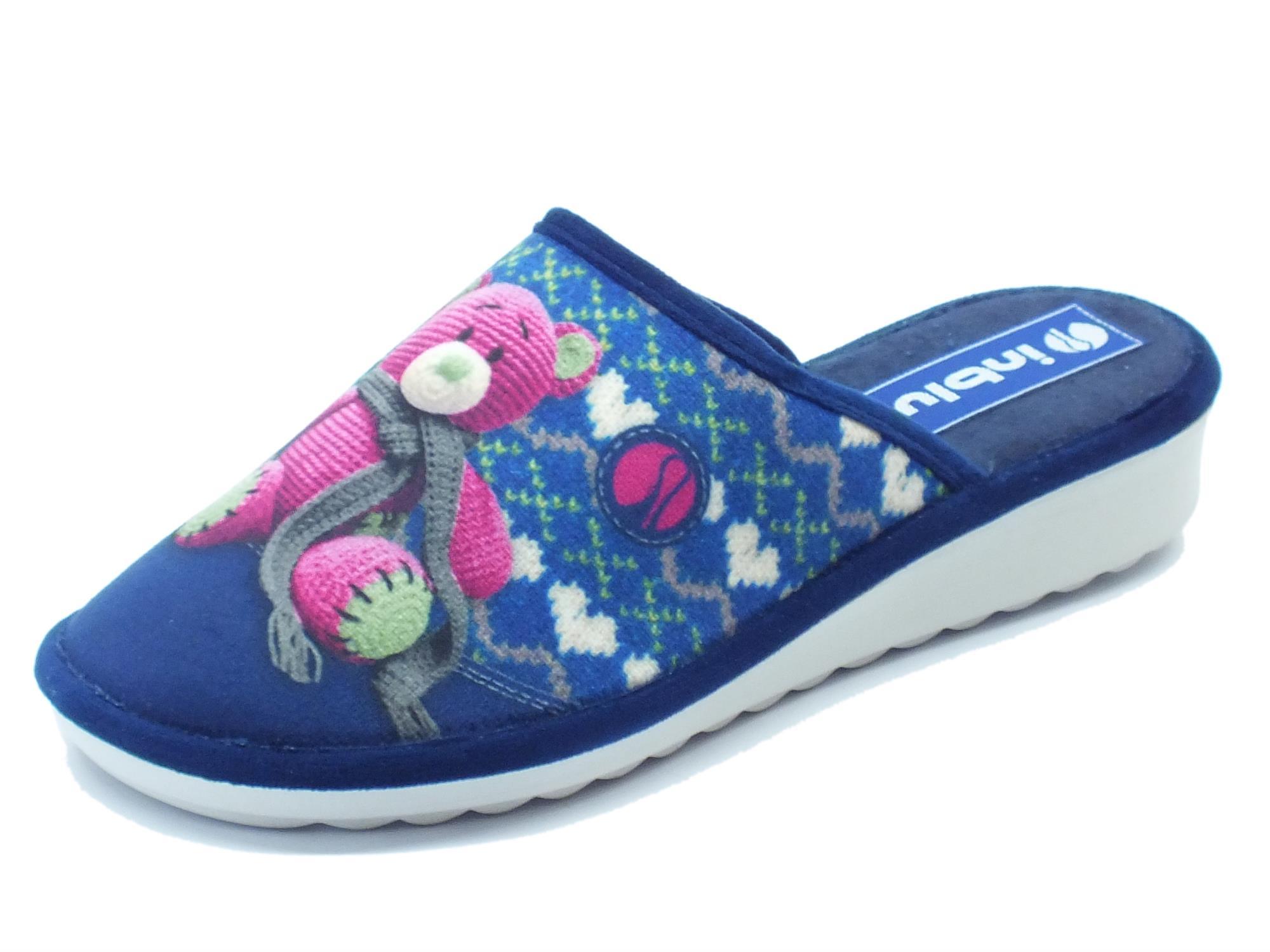 nuovo arrivo 562ae 7b440 Pantofole InBlu per donna in tessuto blu con orsacchiotto