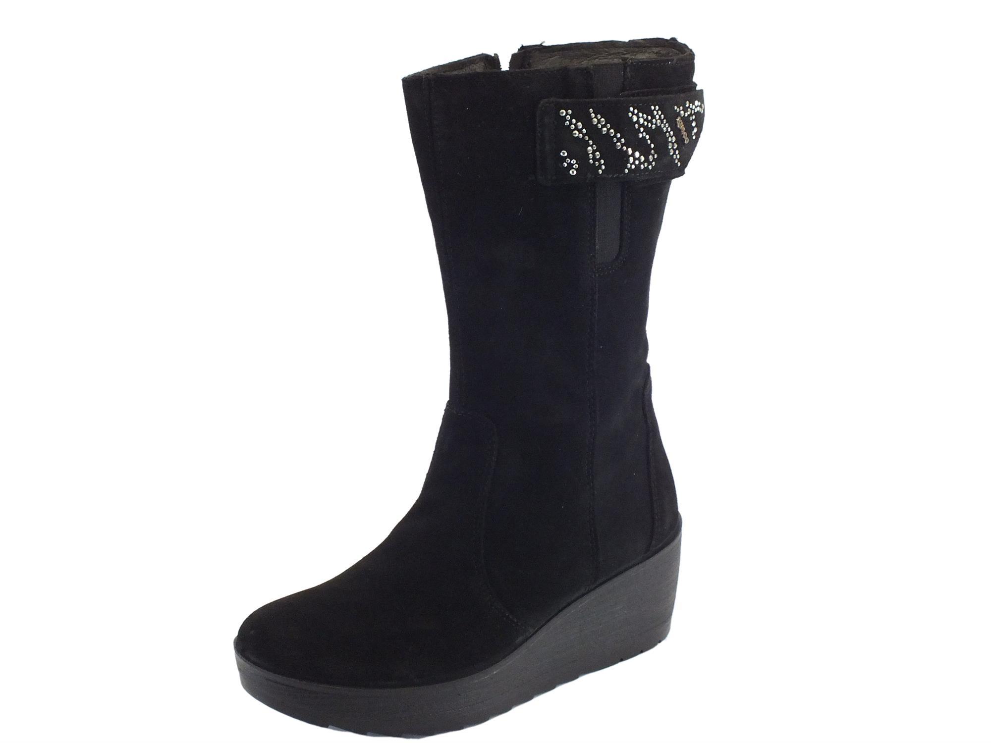 detailed look c3549 19dea Stivali Igi&Co per donna in camoscio nero con zeppa alta