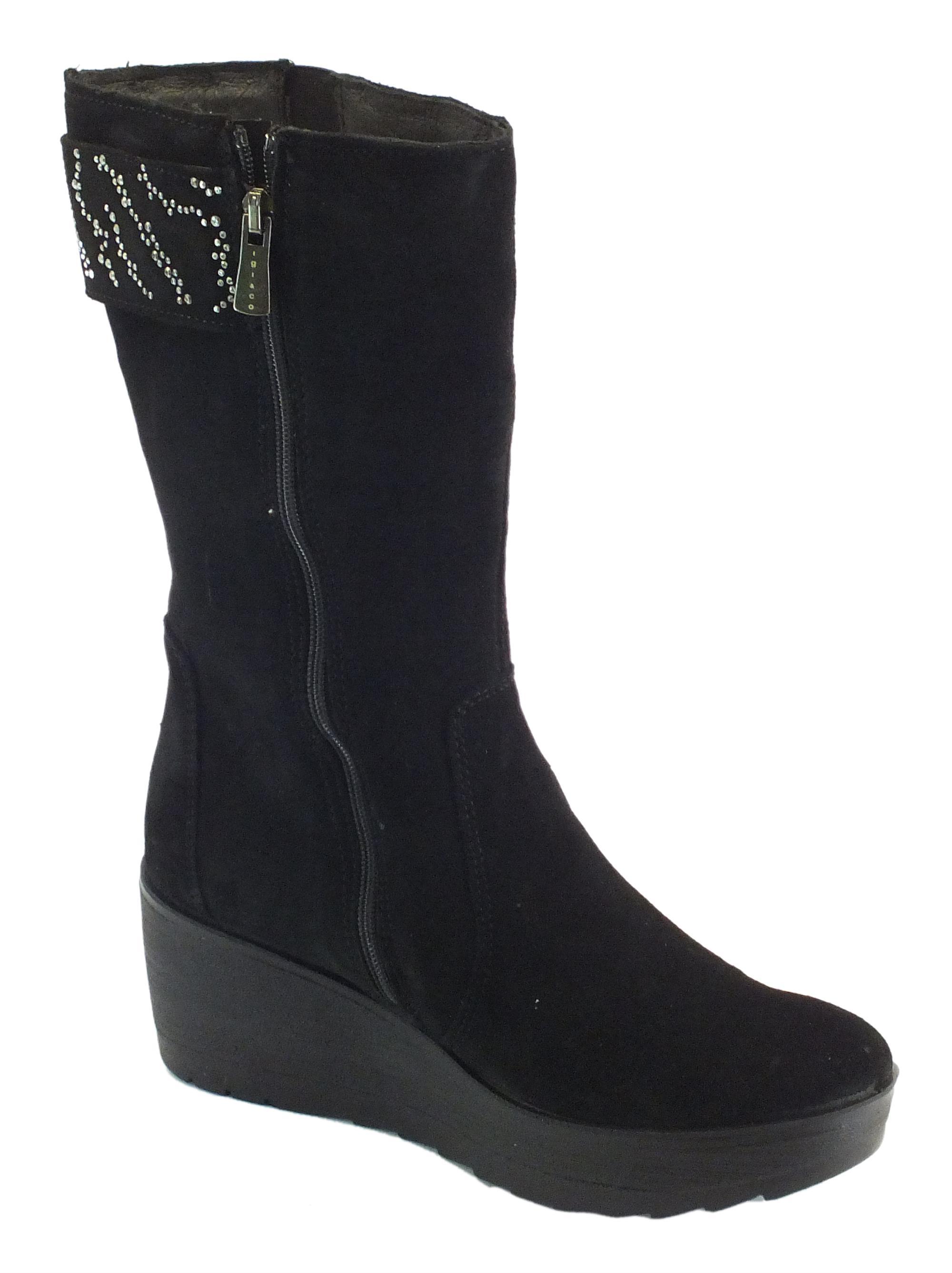 3620b3ab418fc6 Stivali Igi&Co donna camoscio nero zeppa alta - Vitiello Calzature