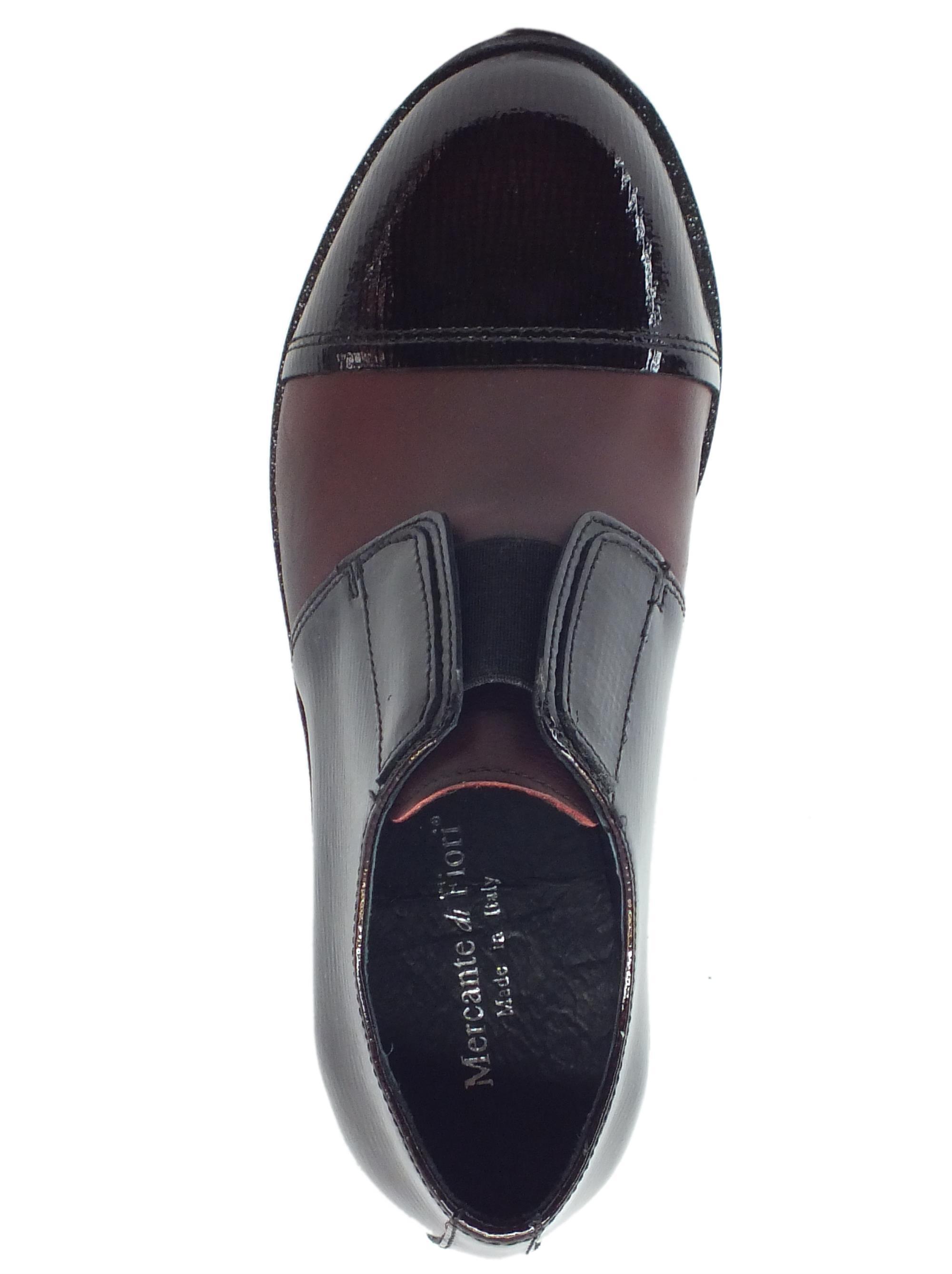 ... Scarpe Mercante di Fiori in pelle e vernice bordeaux con calzata veloce a4425db702e