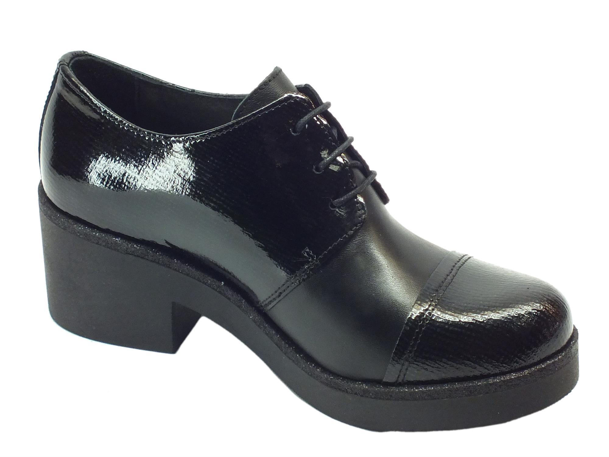Scarpe Mercante di Fiori pelle vernice nero stringate - Vitiello ... e9d28e487da