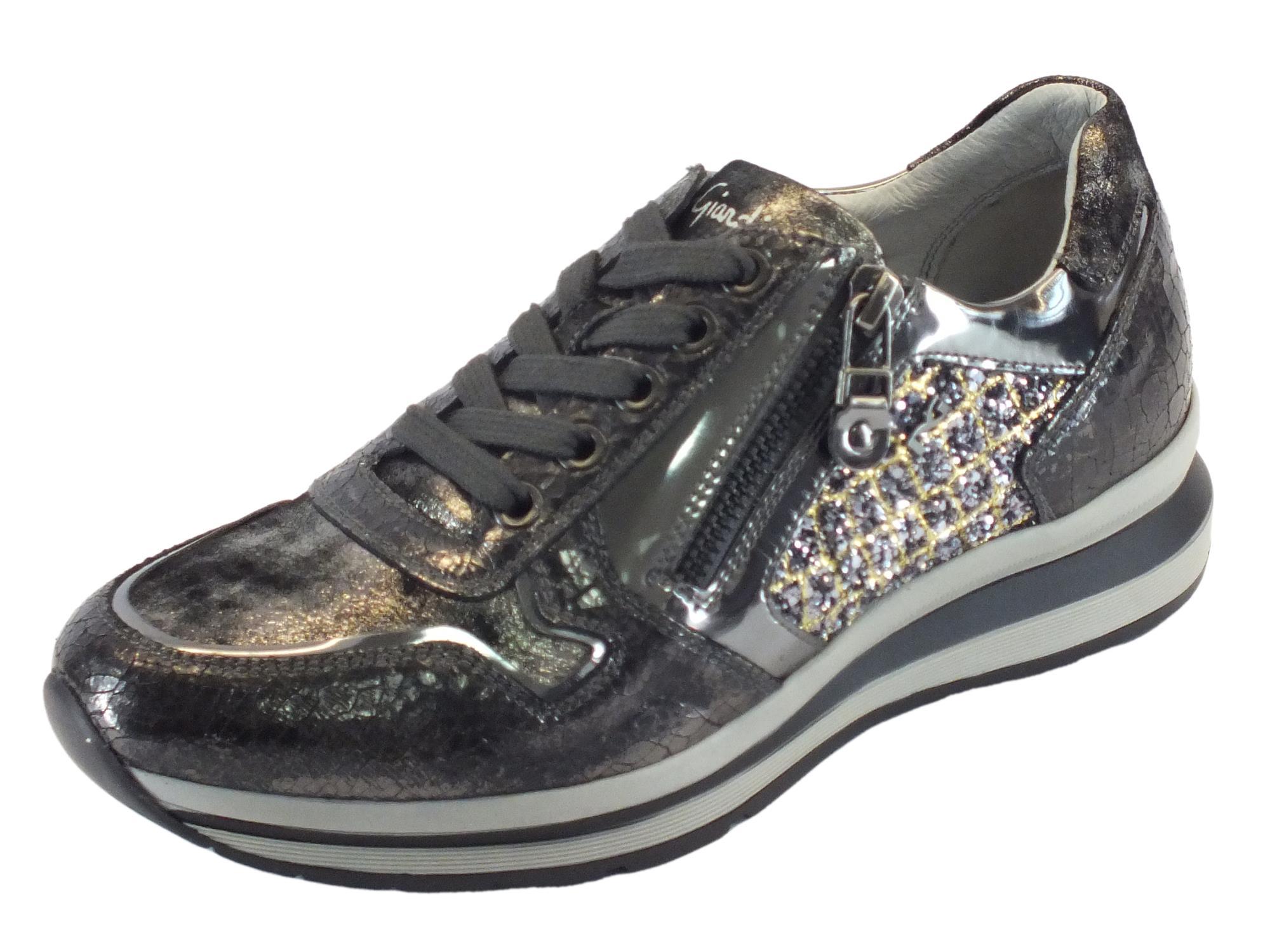 Sneakers NeroGiardini per donna in pelle lucida antracite glitter oro grigio