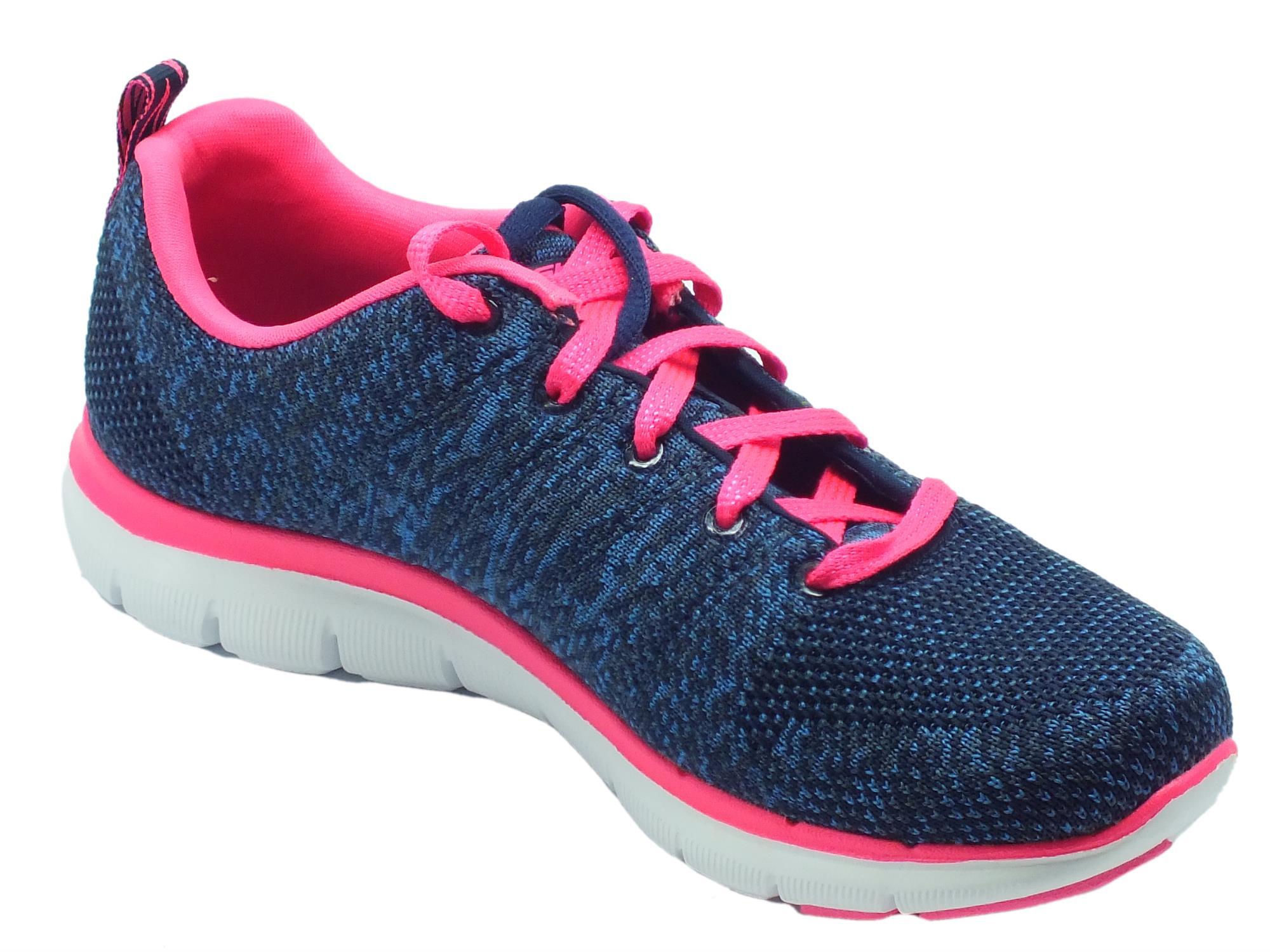 7a94a5c3f256 ... Scarpe sportive Skechers Flex Appeal per donna in tessuto blu e  dettagli rosa ...