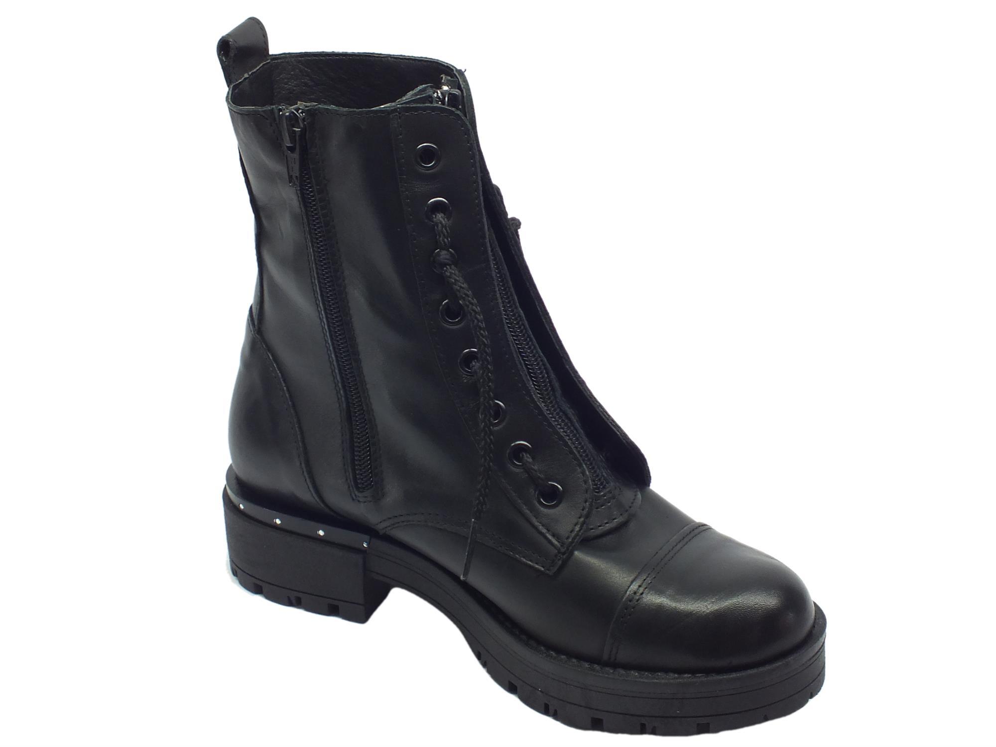 ... Anfibi per donna Vitiello Calzature in pelle nera con lacci e lampo ... 9ab88273951