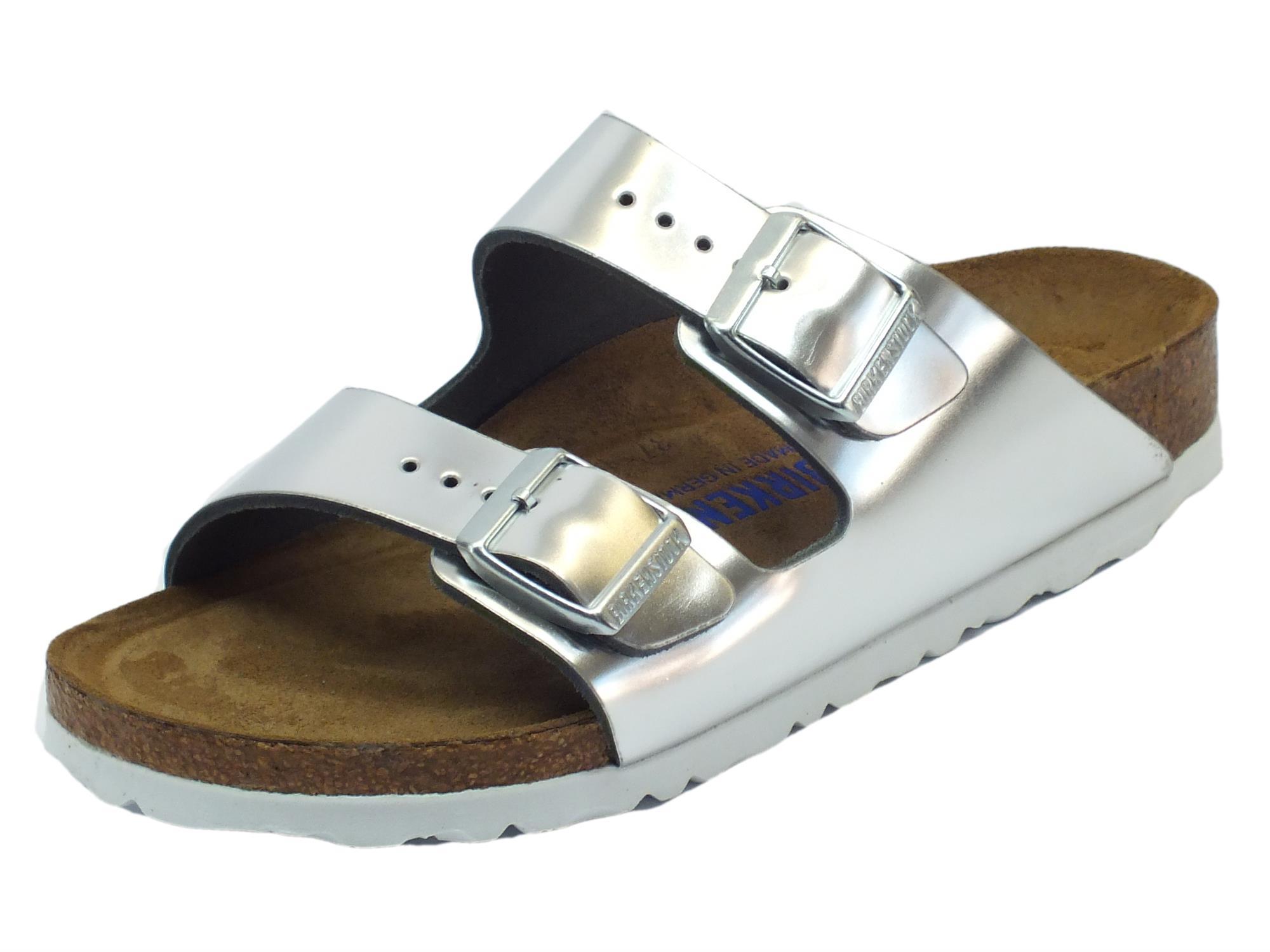 Sandali Birkenstock donna Arizona BS colore argento - Vitiello Calzature f949f722247
