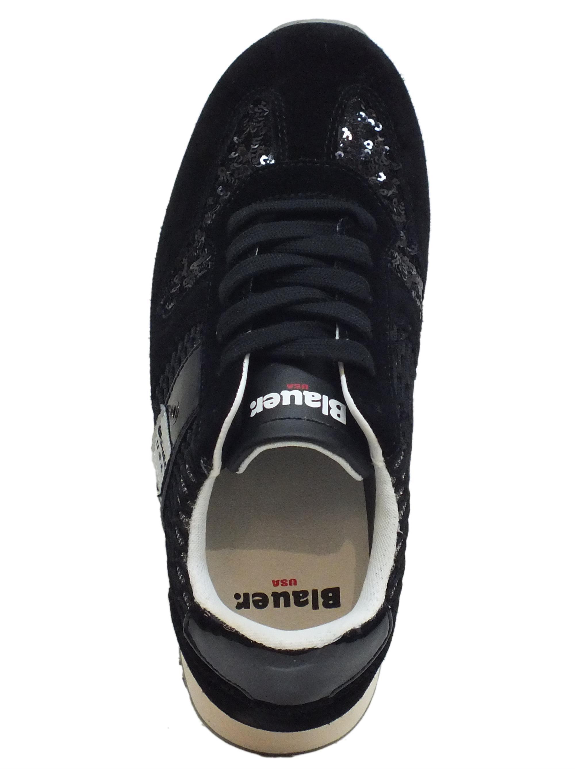 Sneakers Blauer USA donna camoscio paiettes nera - Vitiello Calzature d288cebfa20