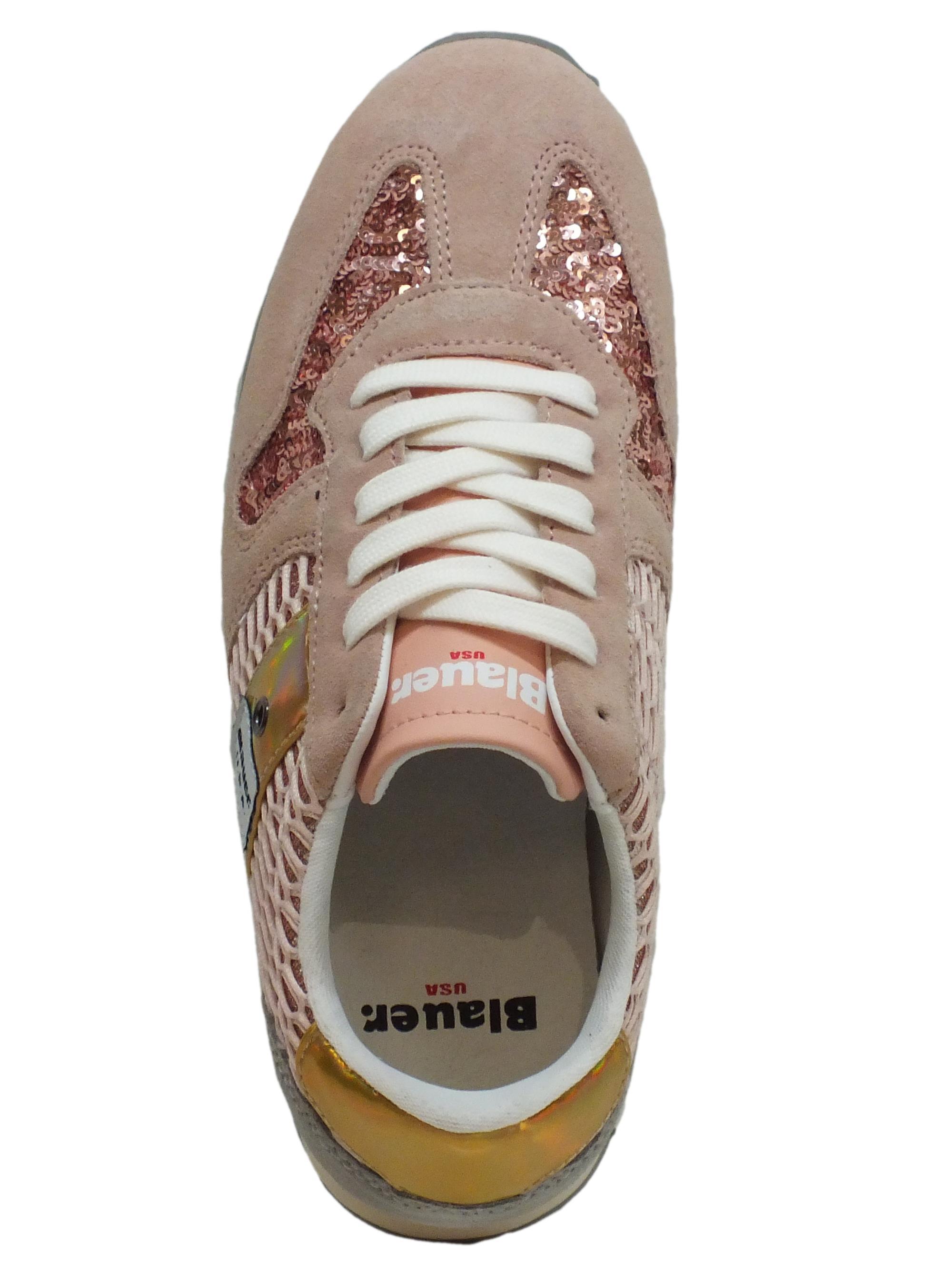 Sneakers Blauer USA donna camoscio paiettes rosa - Vitiello Calzature 21022c93ea3