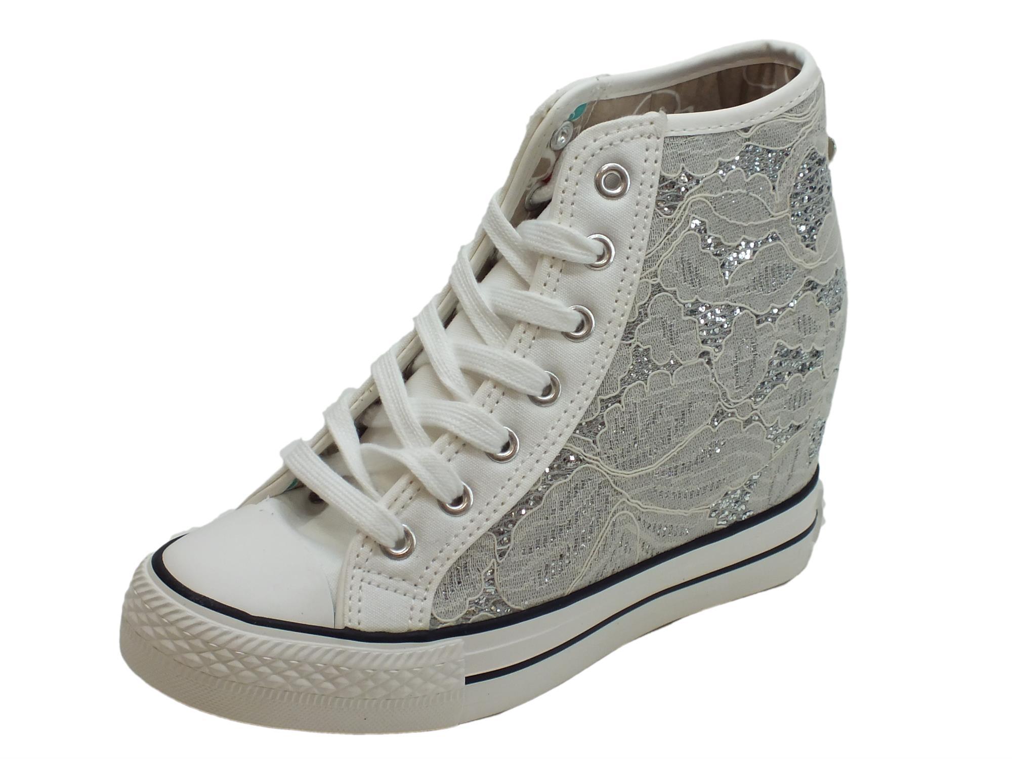 Sneakers CafèNoir per donna in tessuto macramè bianco zeppa interna 7cm 7d9c92f39ca
