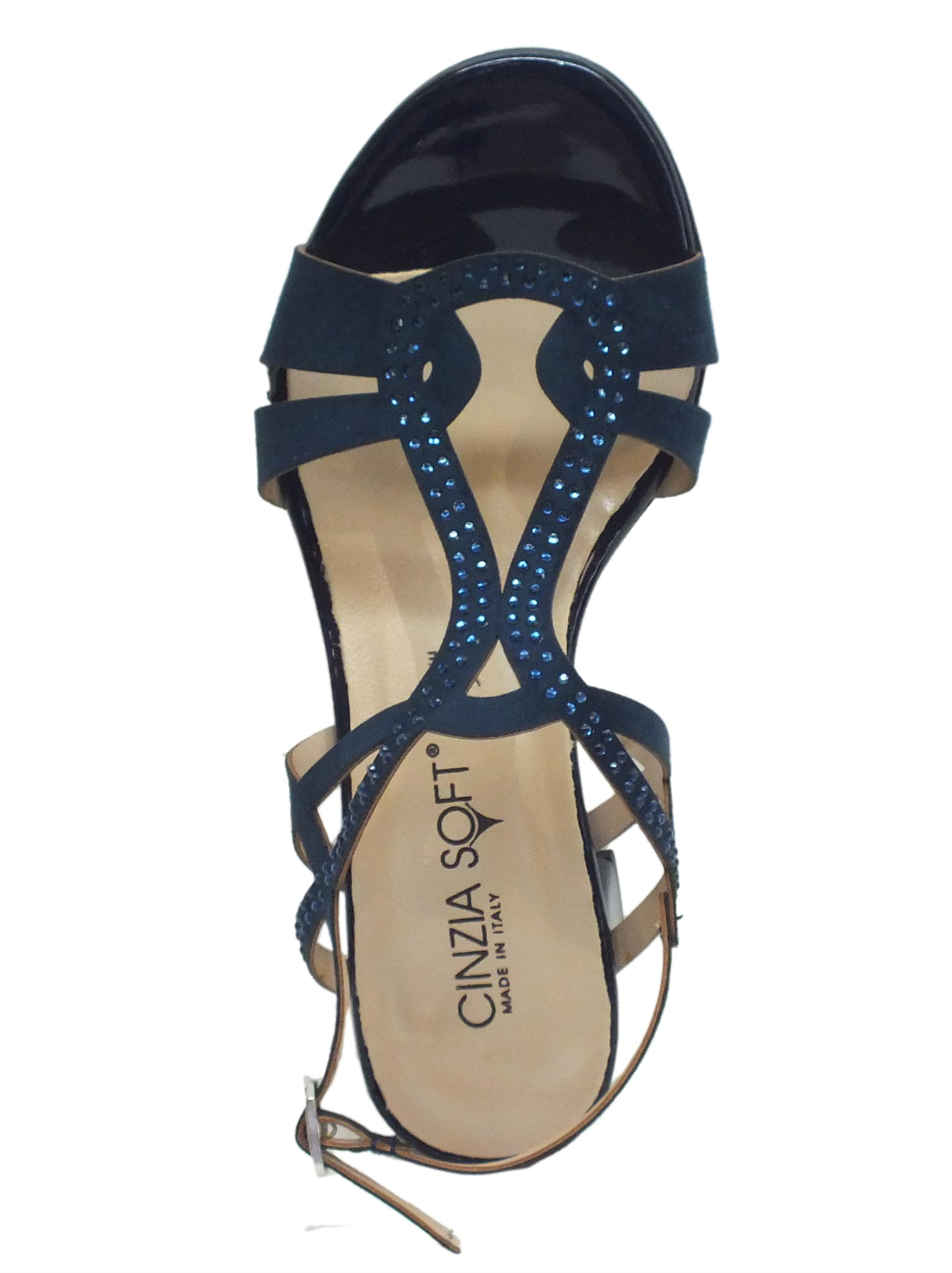4fd48def13361 ... Sandali Cinzia Soft con listelli di ecocaloscio blue e strass blue tacco  medio