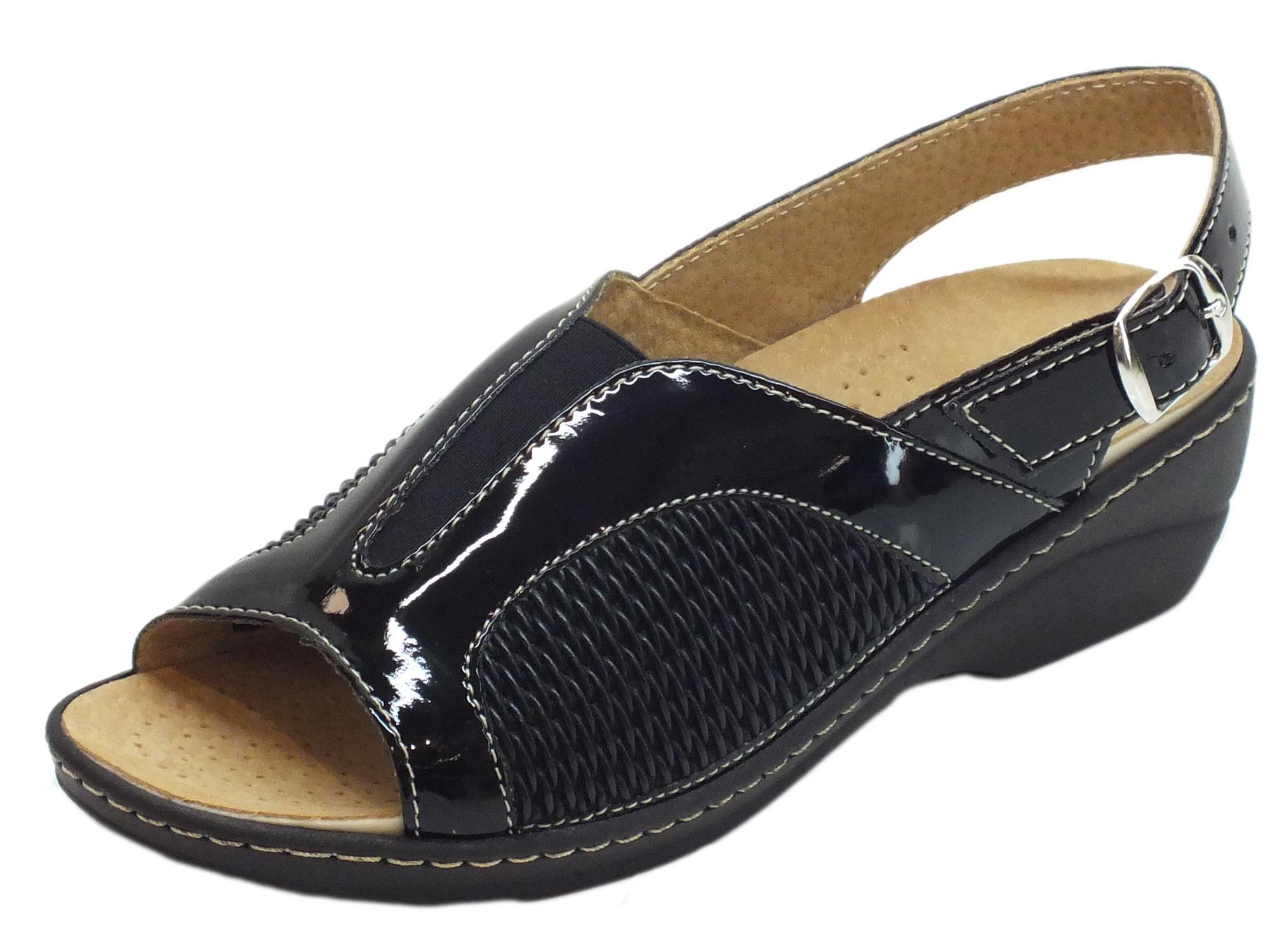 Sandali Cinzia Soft in vernice e tessuto elasticizzato nero sottopiede  estraibile ee195b34f6d