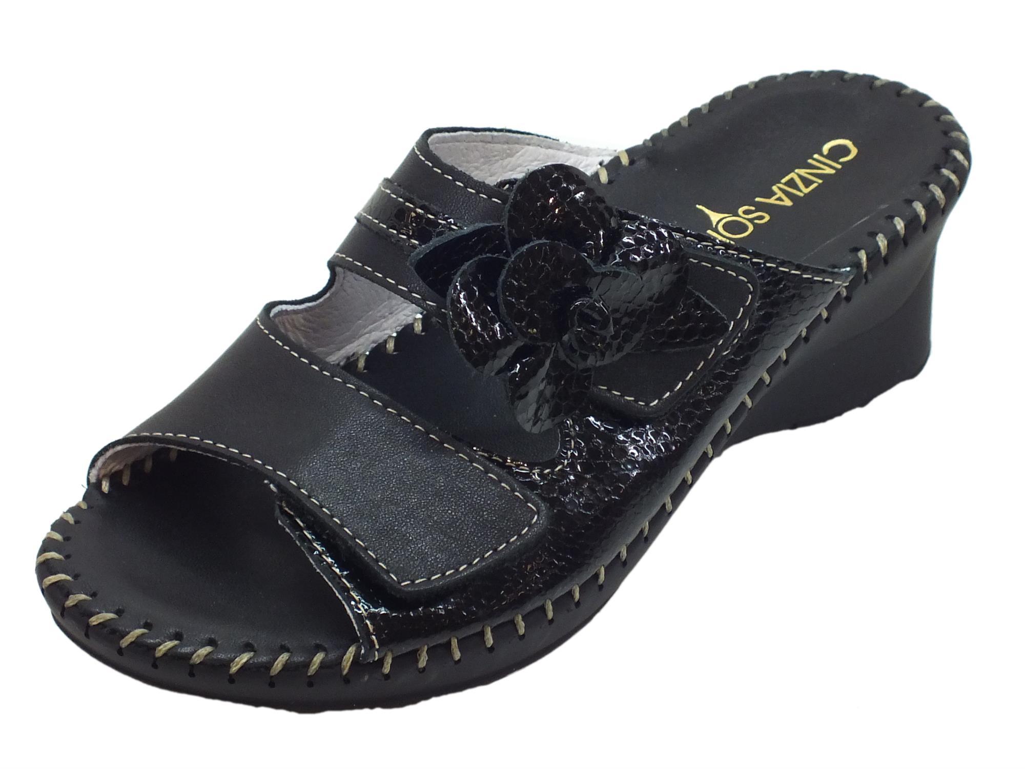 Ciabatte Cinzia Soft pelle pelle Soft vernice nera doppia regolazione   f74307