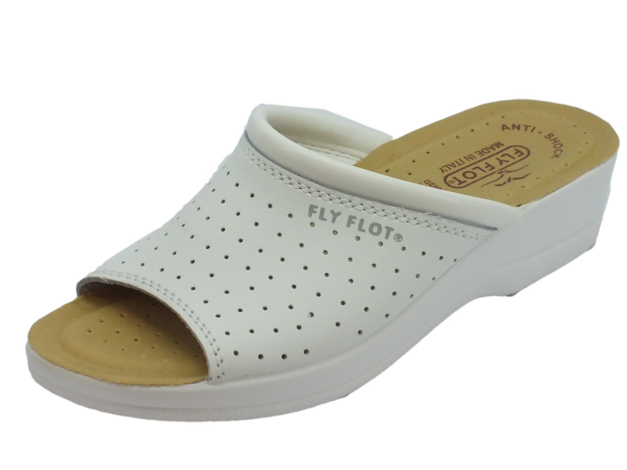 Pantofole spuntate FlyFlot in ecopelle traforata bianca sottopiede pelle  antishock f927040fc0a