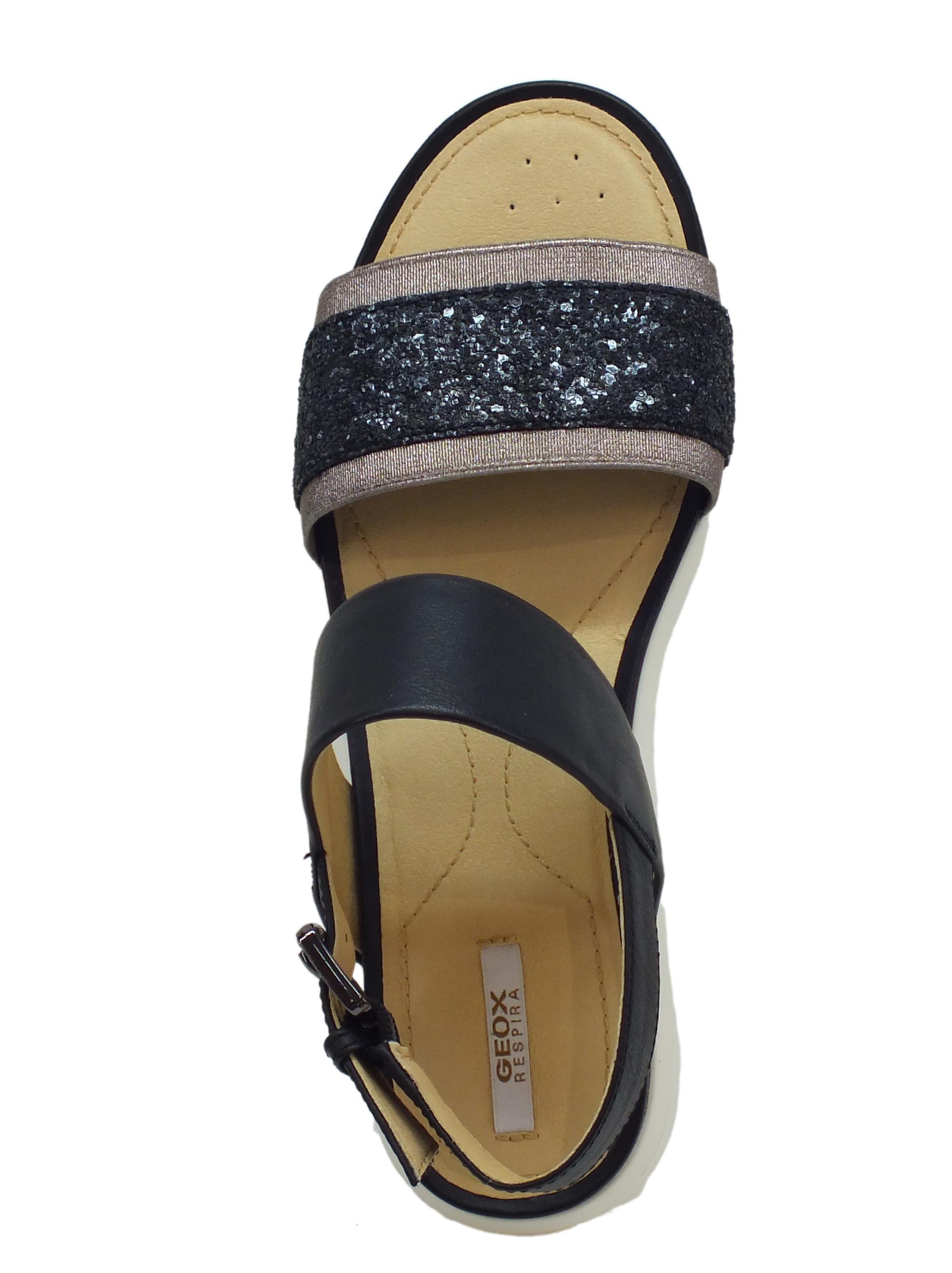 Sandali Geox donna pelle nera zeppa bassa - Vitiello Calzature b3f56f78d63