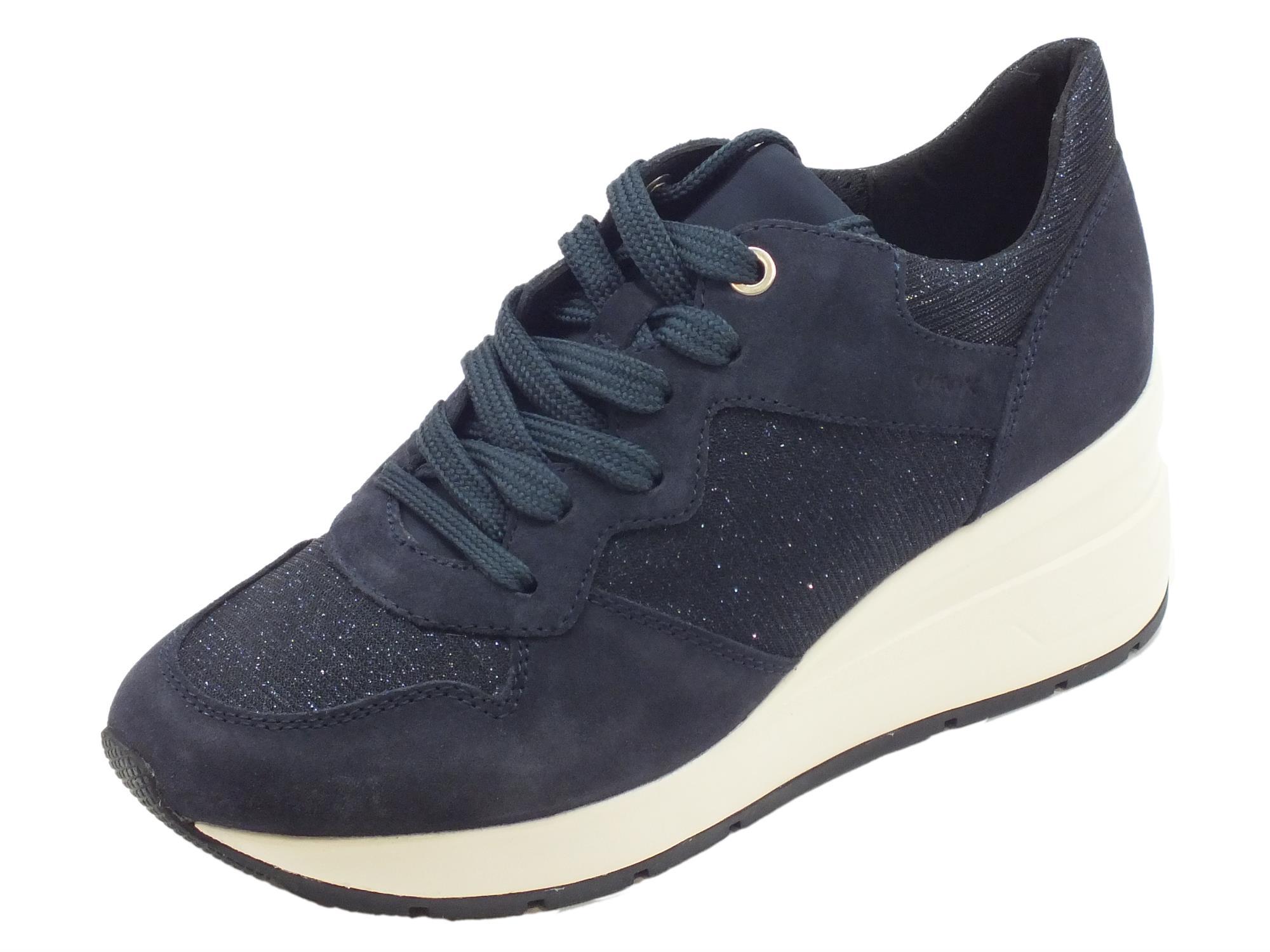 Sneakers Geox per donna in nabuk blu e tessuto brillante blu zeppa alta