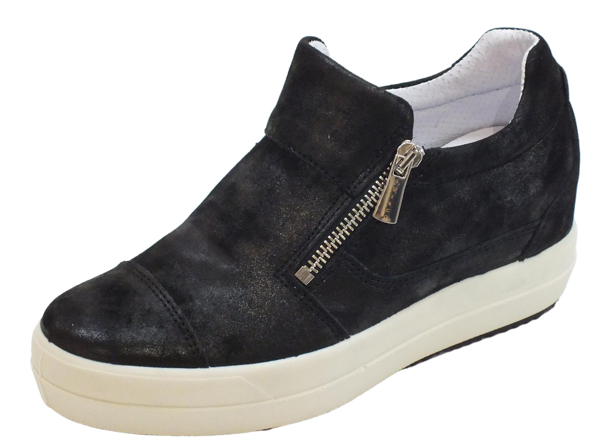 Sneakers Igi Co per donna in pelle perlata nera con doppia lampo e zeppa  interna 45576d837f5
