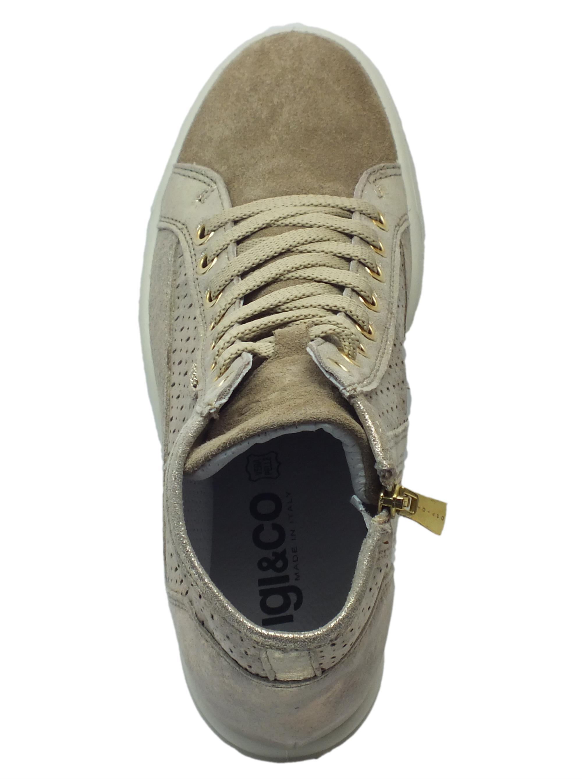 Igi amp;co Donna Perlato Pelle Beige Sneakers Colore Nuvolato Vitiello f6bgyYv7
