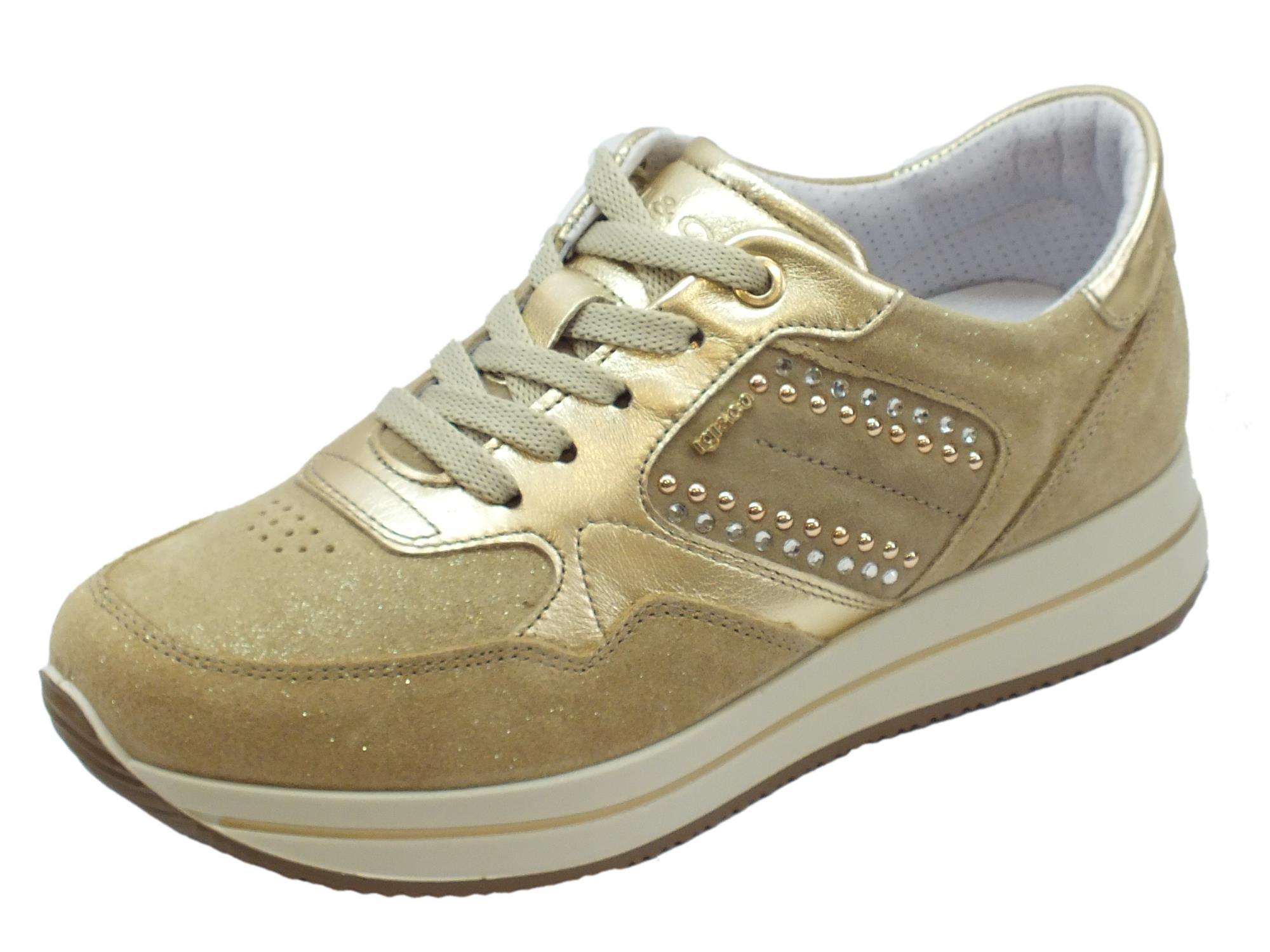Igi Co Sneakers donna pelle scamosciata beige glitter - Vitiello ... 70e71fcbeb9