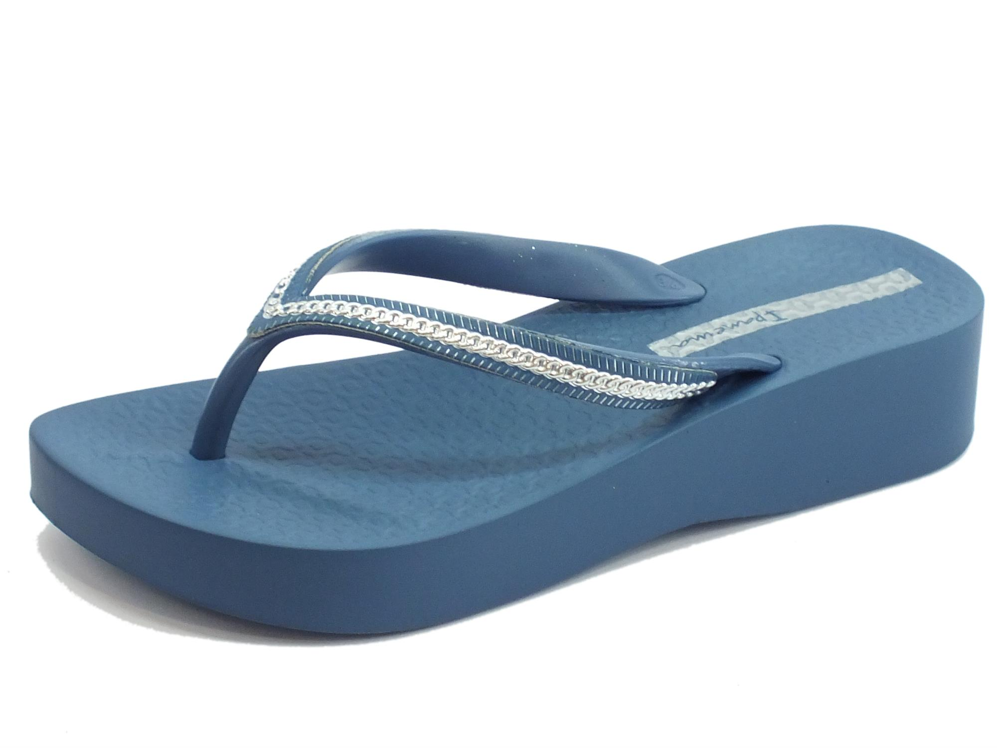 save off 781b4 78556 Infradito Ipanema Mesh III per donna in caucciù blu argento zeppa media