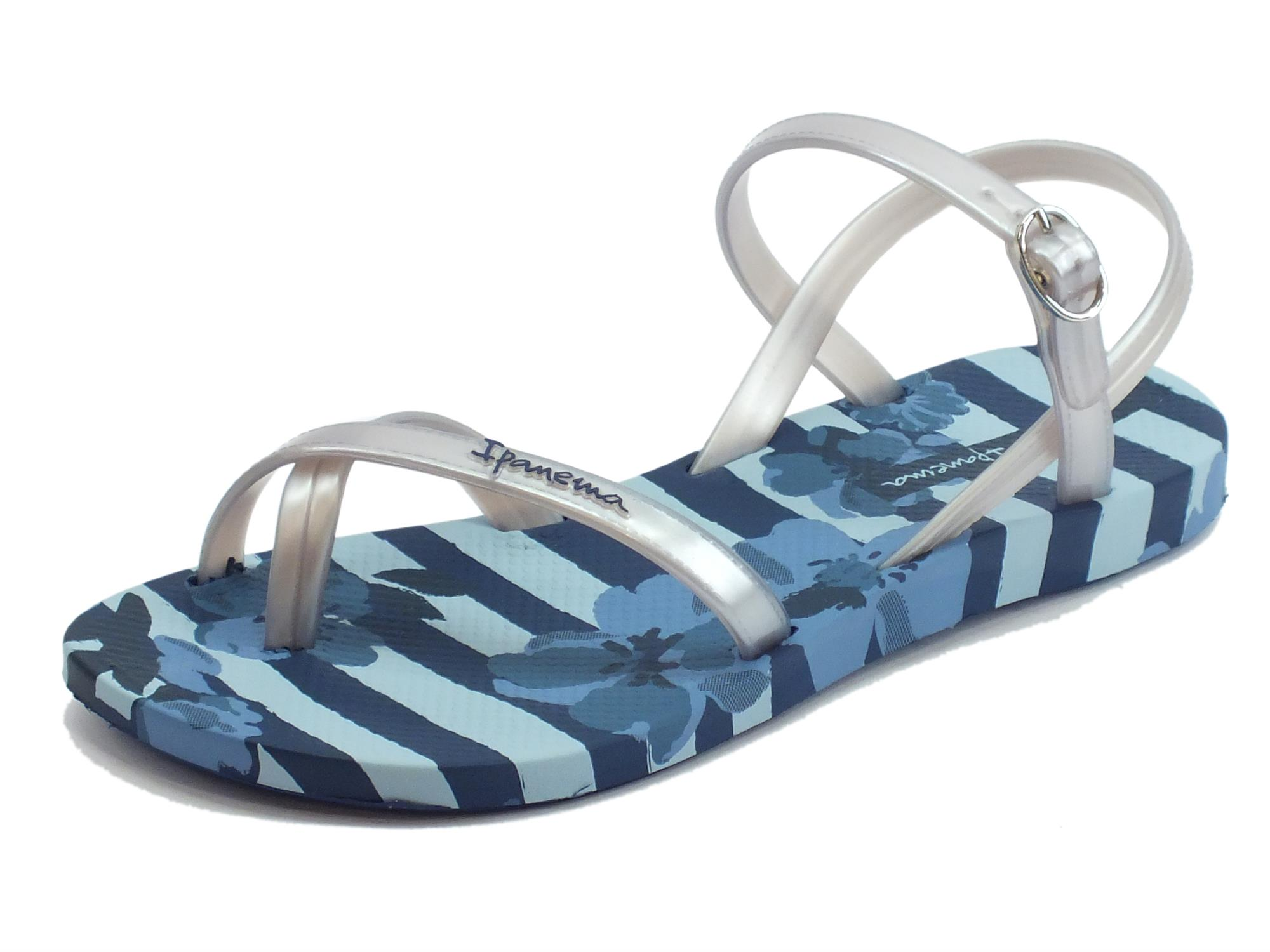 Sandali Ipanema Fashion Sand per donna in caucciù blu e argento zeppa bassa 5415b044a68