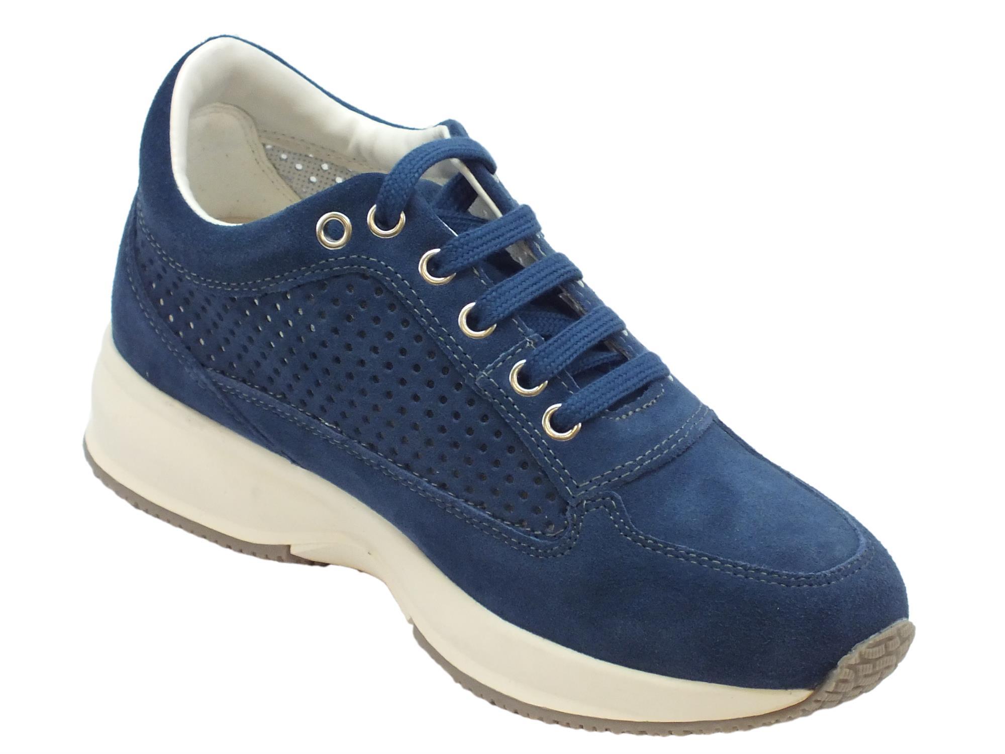 ... Sneakers Lumberjack RAUL per donna in camoscio avio con zeppa interna  ... f1c657bed8e