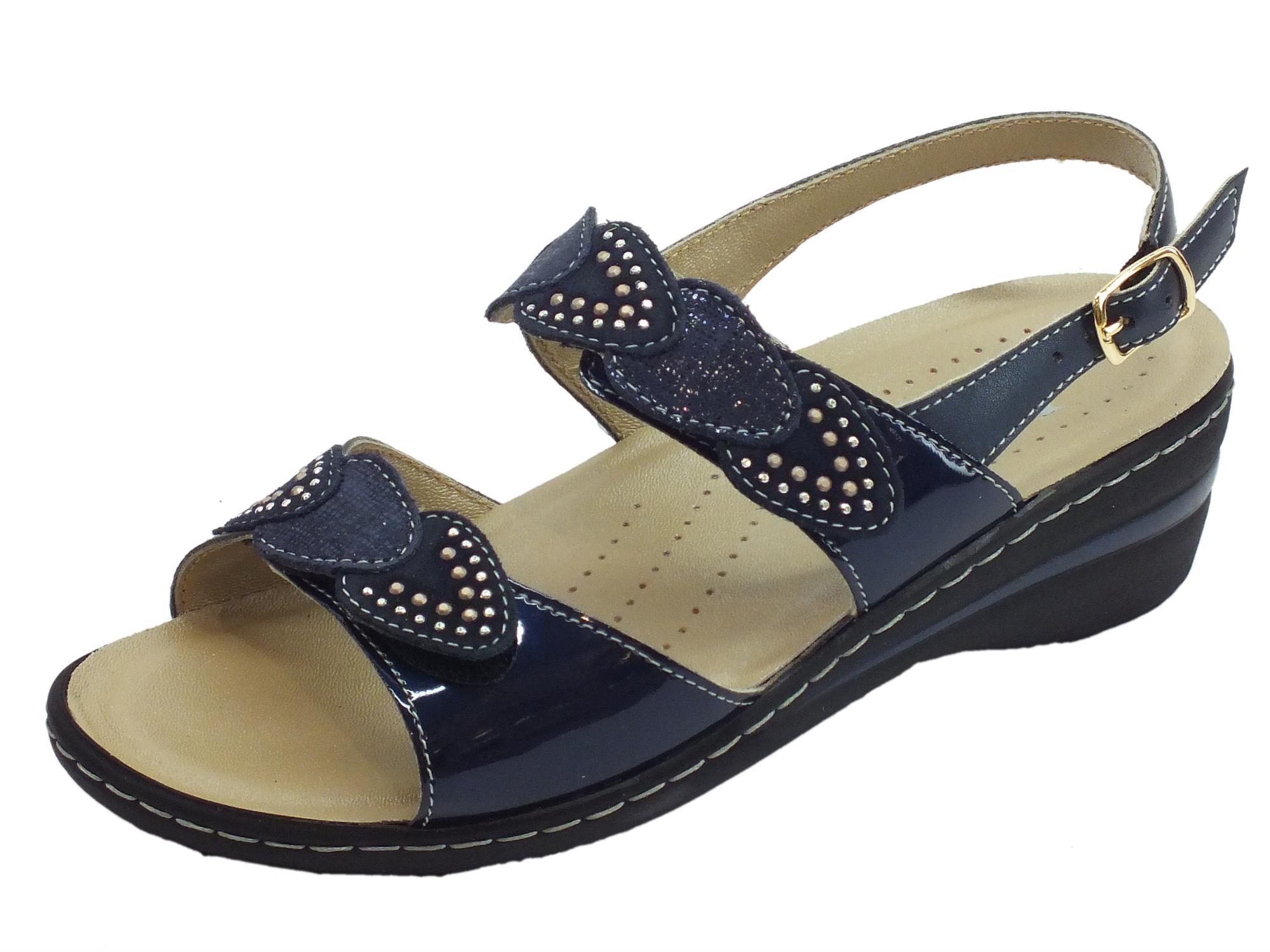 Sandali per donna Melluso in pelle e vernice blu doppia chiusura strappo
