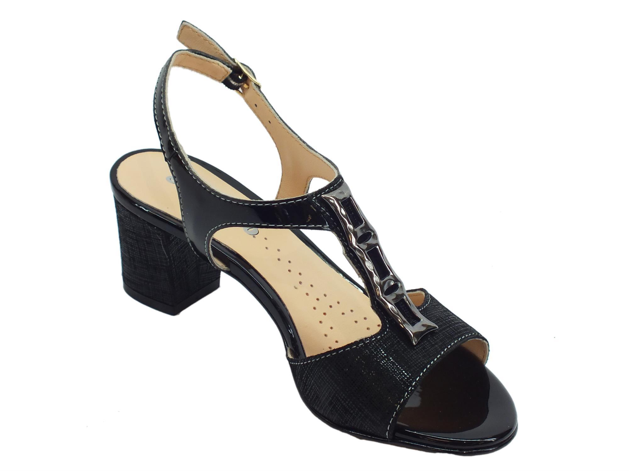 6d433b136b70f Sandali donna Melluso pelle satinata nera tacco 6cm - Vitiello Calzature