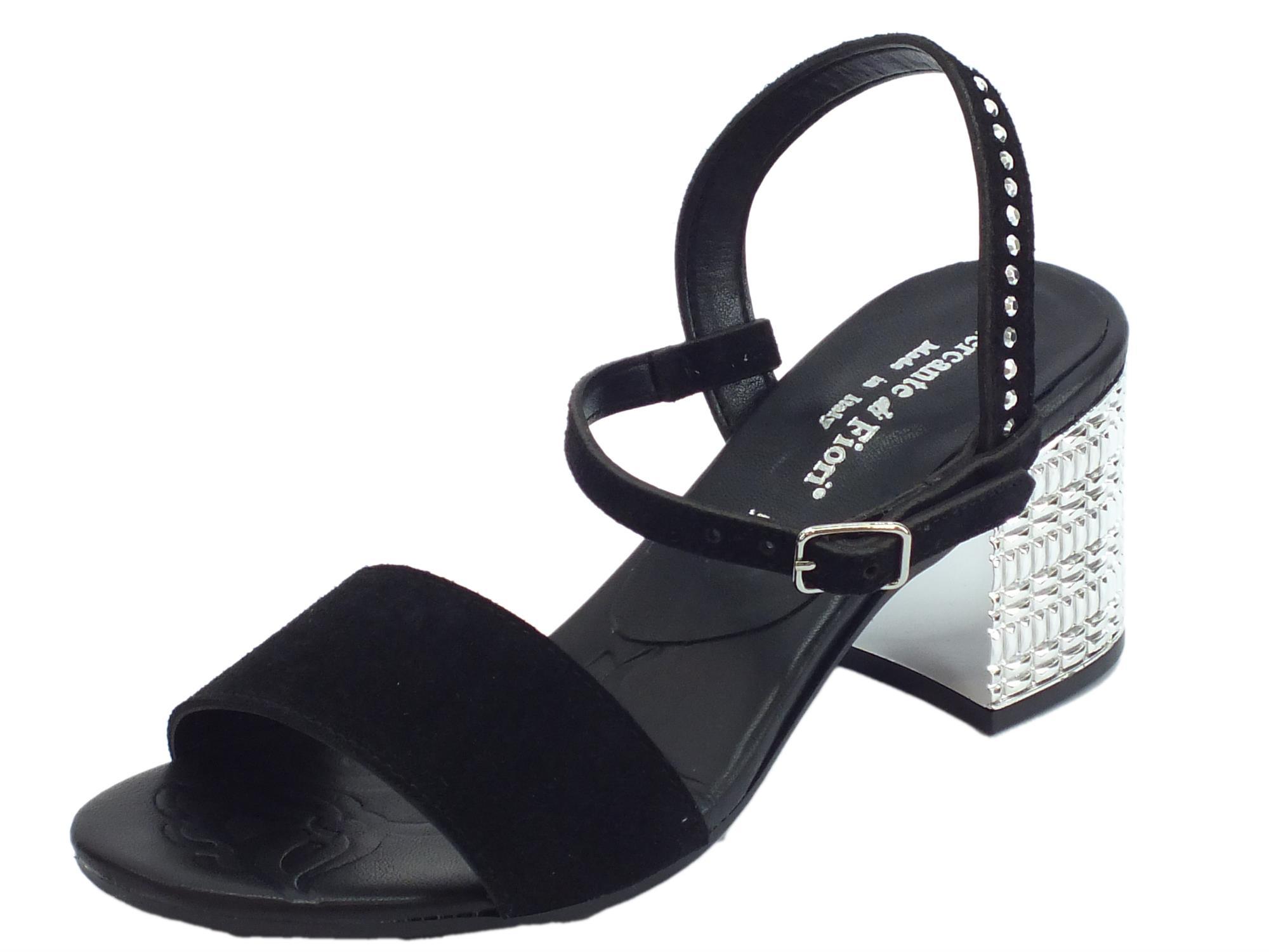 2292688fc35a7 Sandali aperti Mercante di Fiori per donna in nabuk nero con tacco alto  cromato