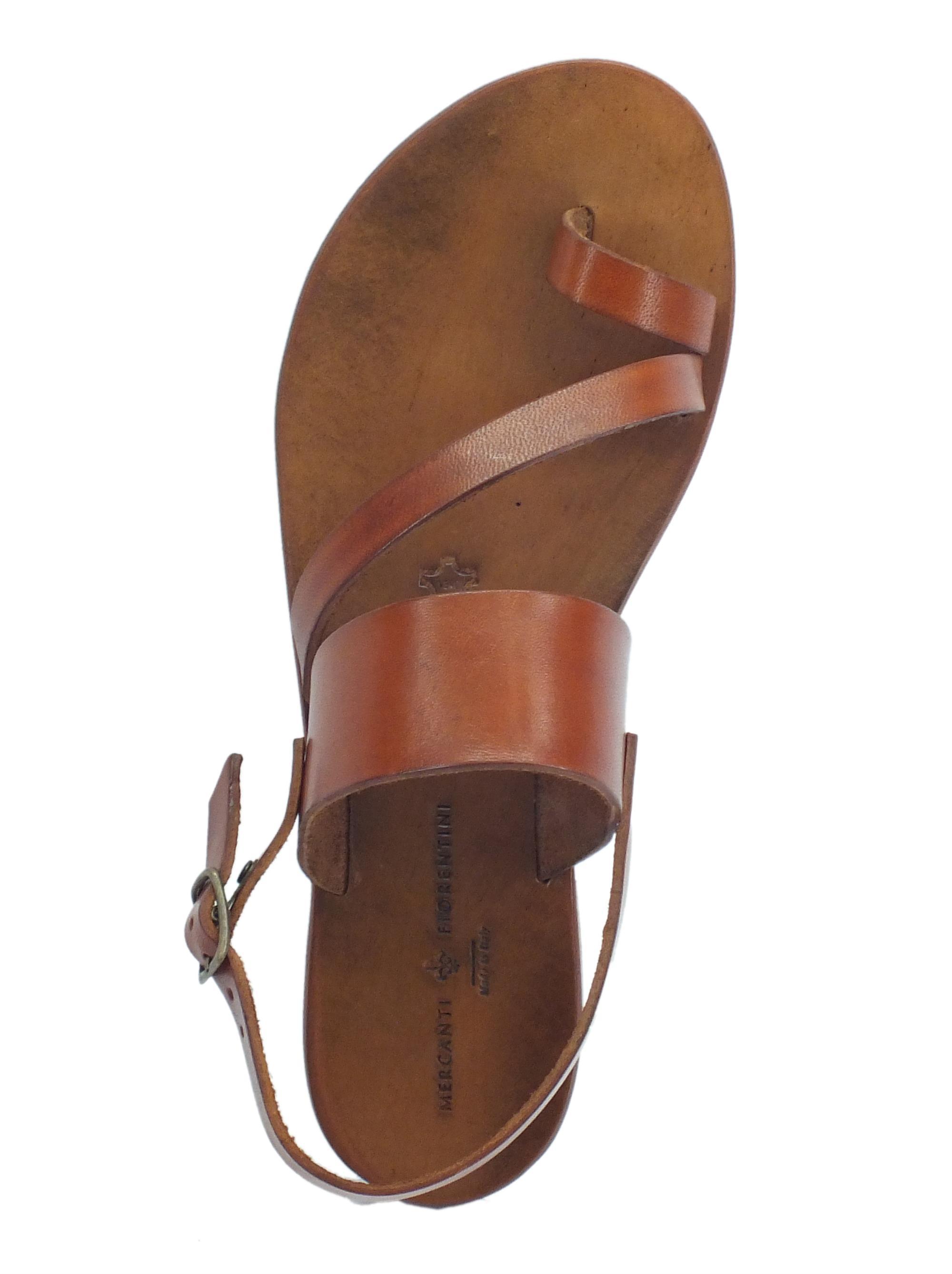 ... Infradito artigianali Mercanti Fiorentini in pelle tuffata cuoio fondo  cuoio tacco basso e8eea922a88